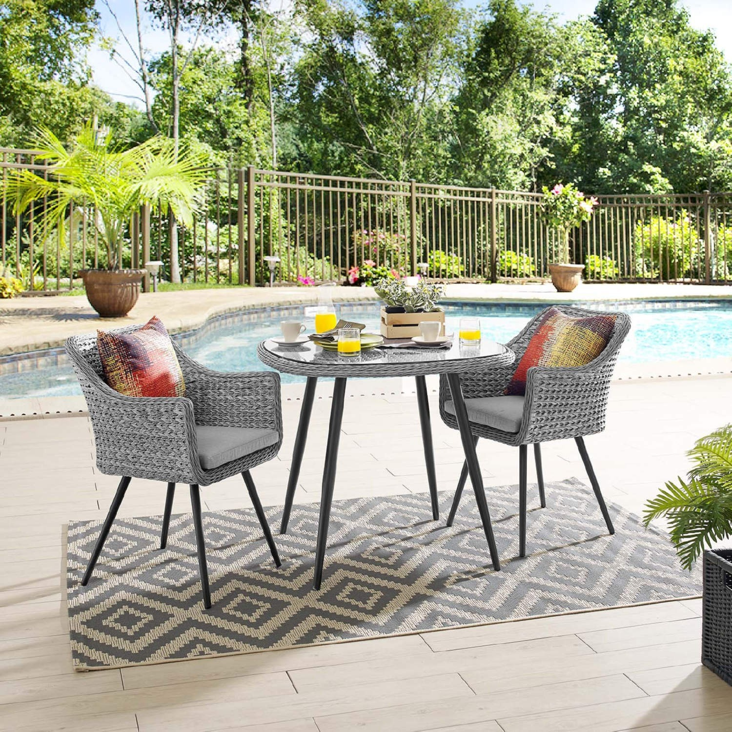 Modern 3-Piece Dining Set In Gray Rattan Weave - image-7