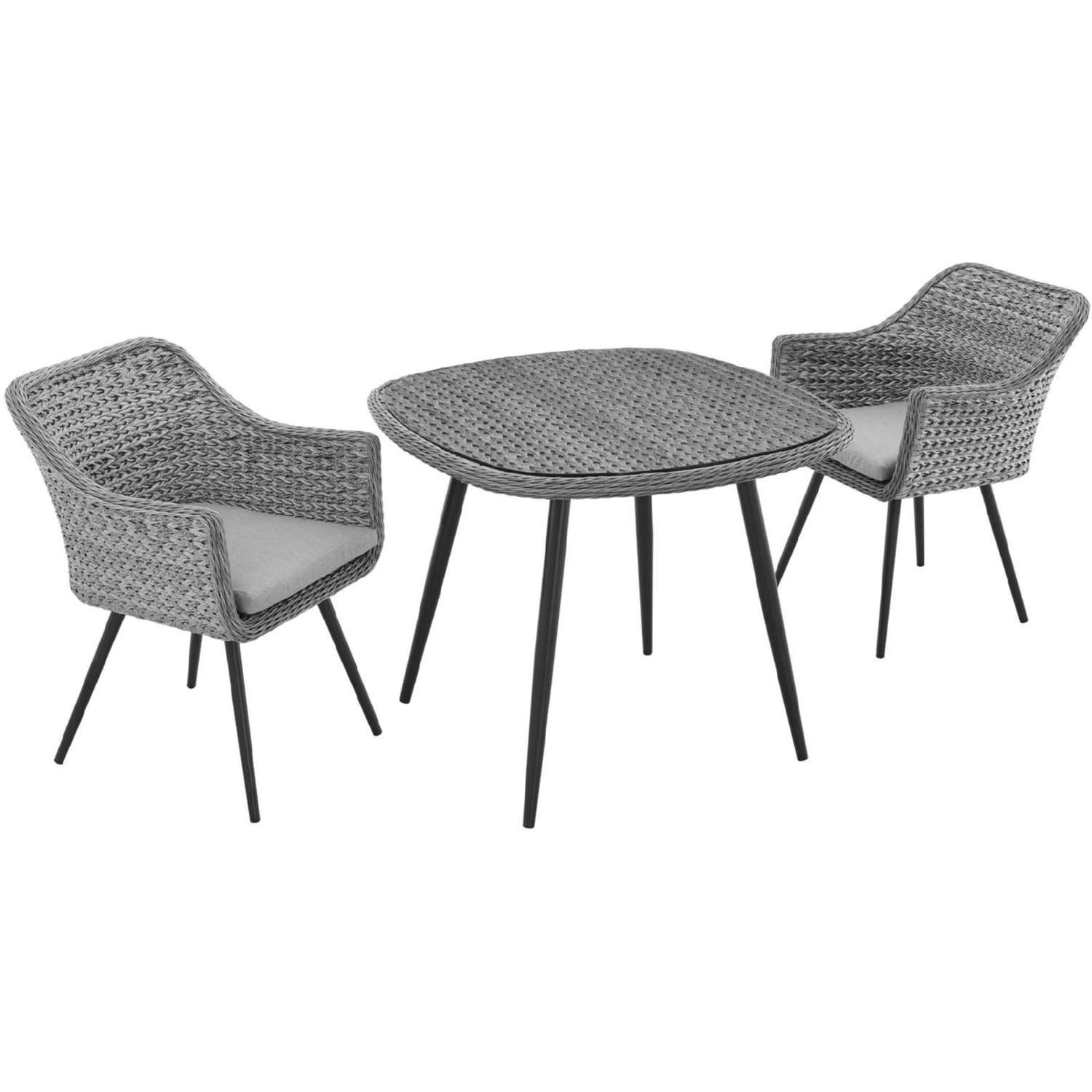 Modern 3-Piece Dining Set In Gray Rattan Weave - image-1