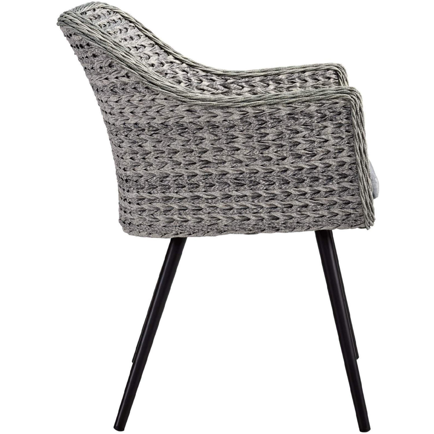 Modern 3-Piece Dining Set In Gray Rattan Weave - image-4