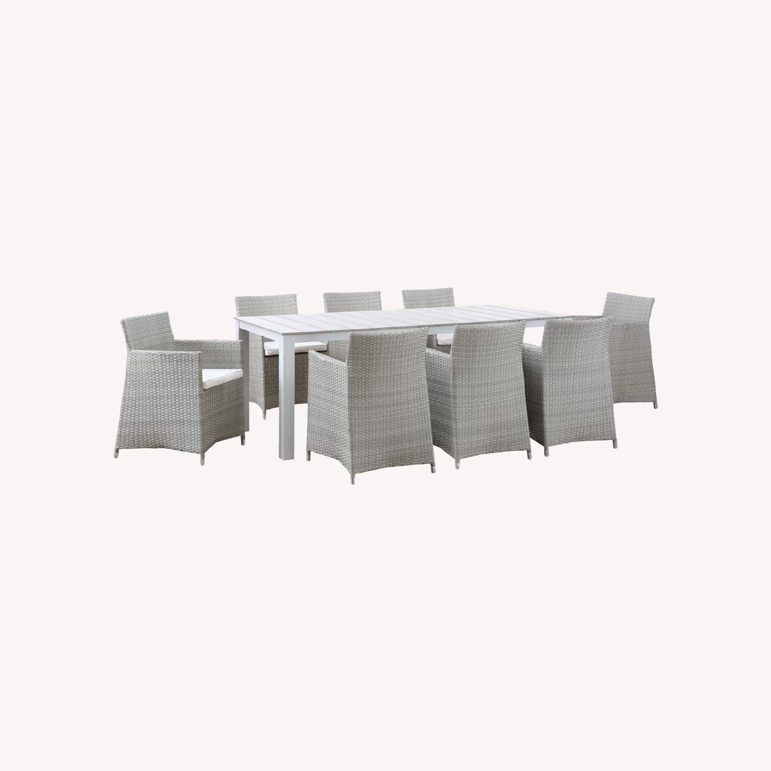 Modern 9-Piece Dining Set In Gray Rattan Weave - image-6