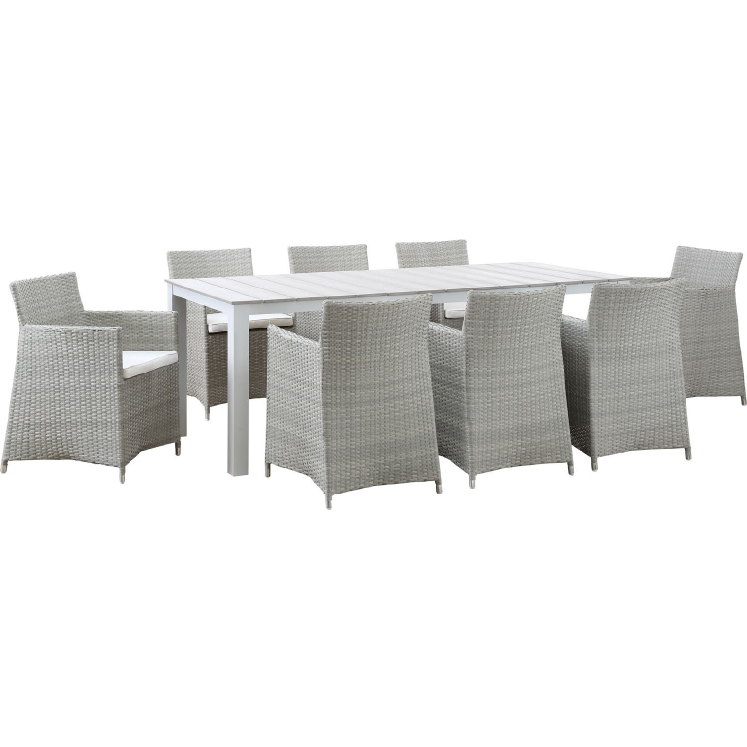 Modern 9-Piece Dining Set In Gray Rattan Weave - image-0