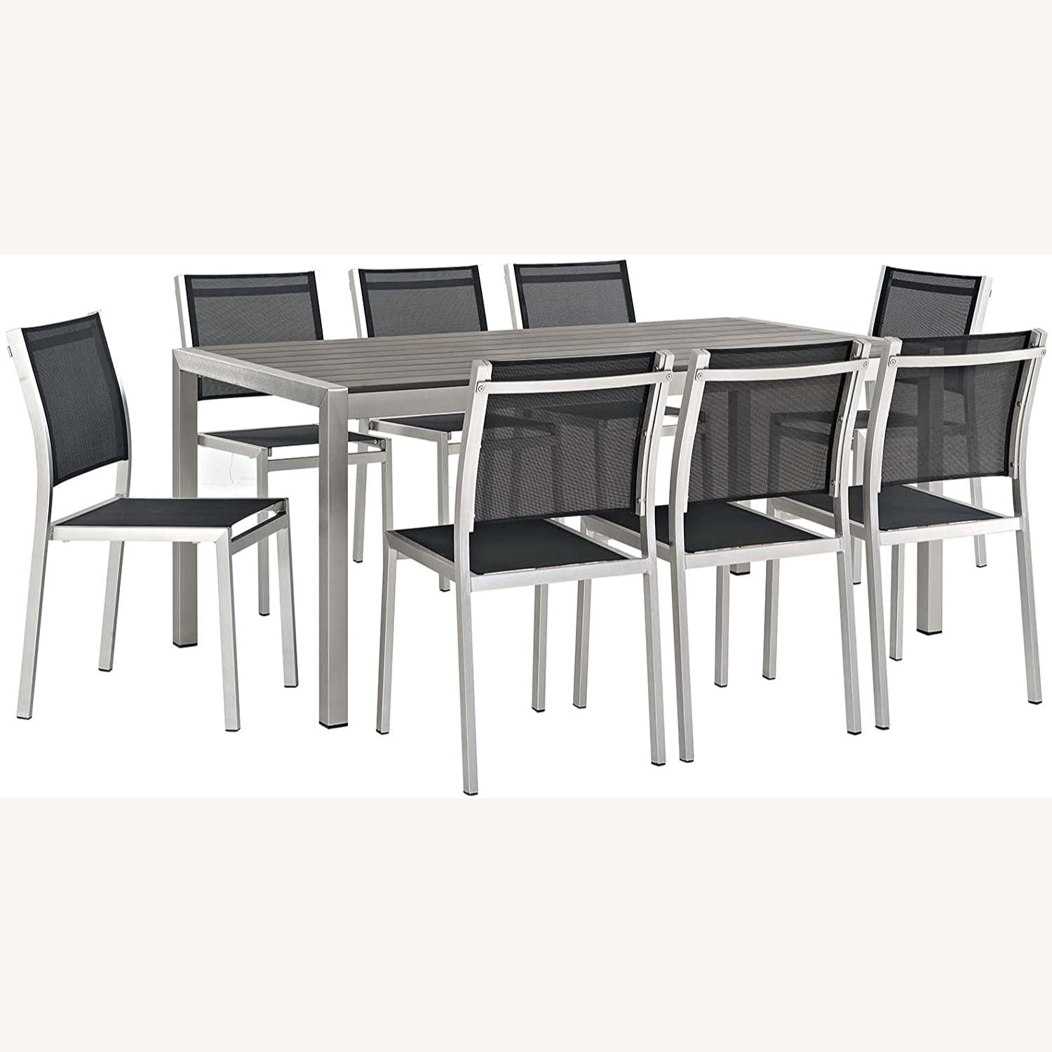 Modern 9-Piece Dining Set In Silver & Black - image-0