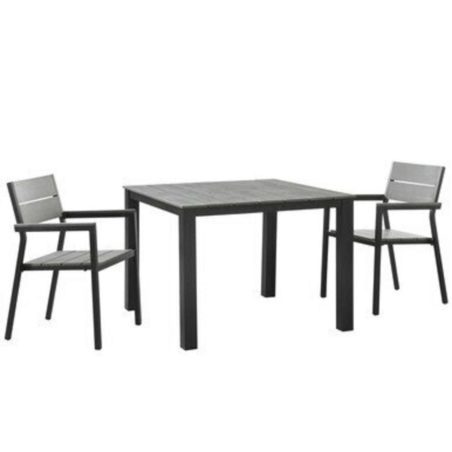 Modern 3-Piece Outdoor Dining Set In Brown & Gray - image-0
