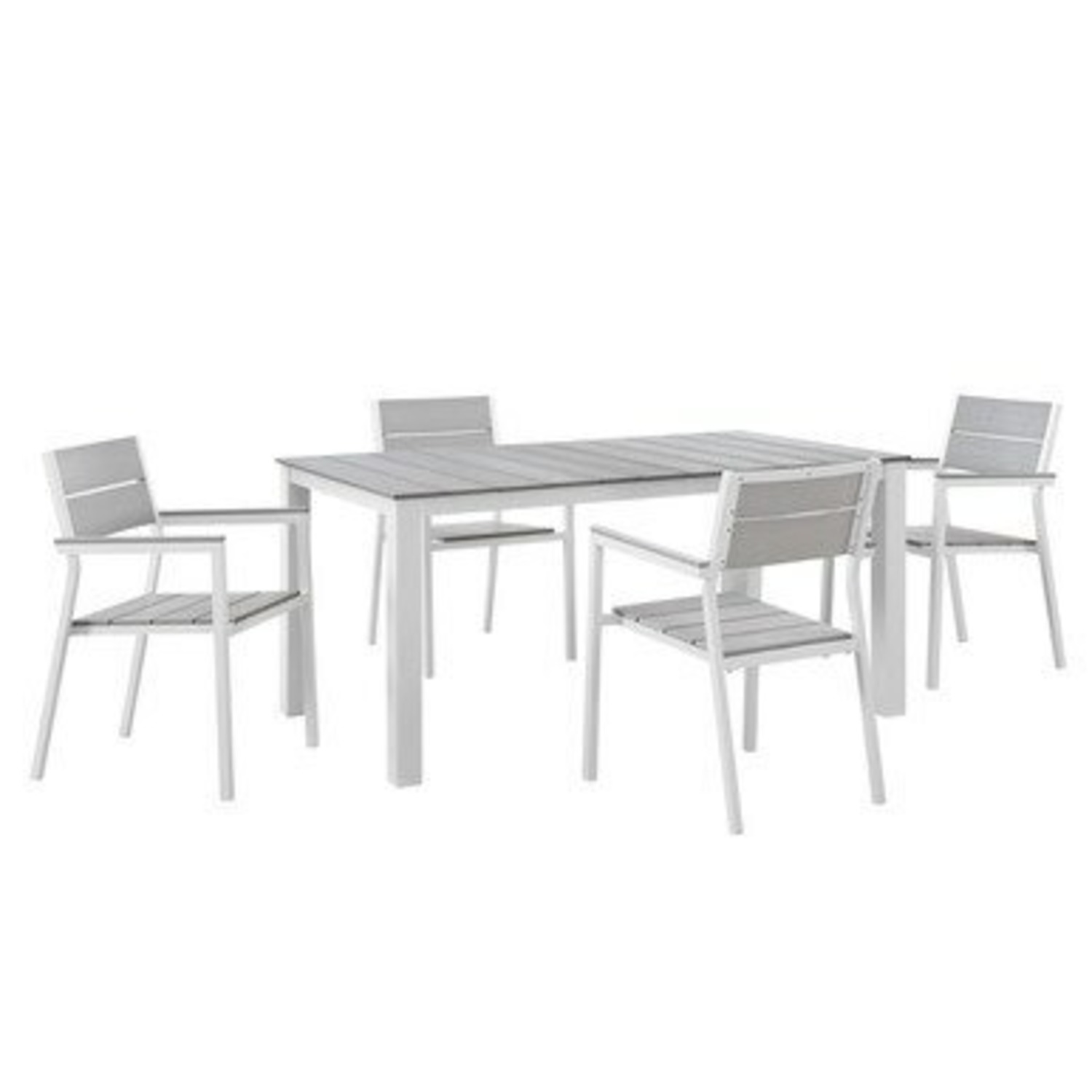 Modern 5-Piece Dining Set In Aluminum Frame - image-0