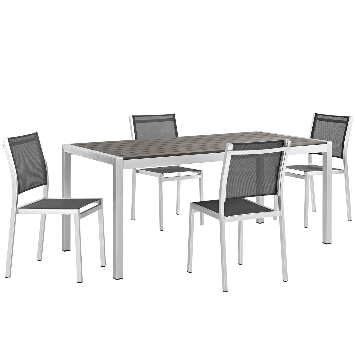 Modern 5-Piece Outdoor Dining Set In Black - image-0