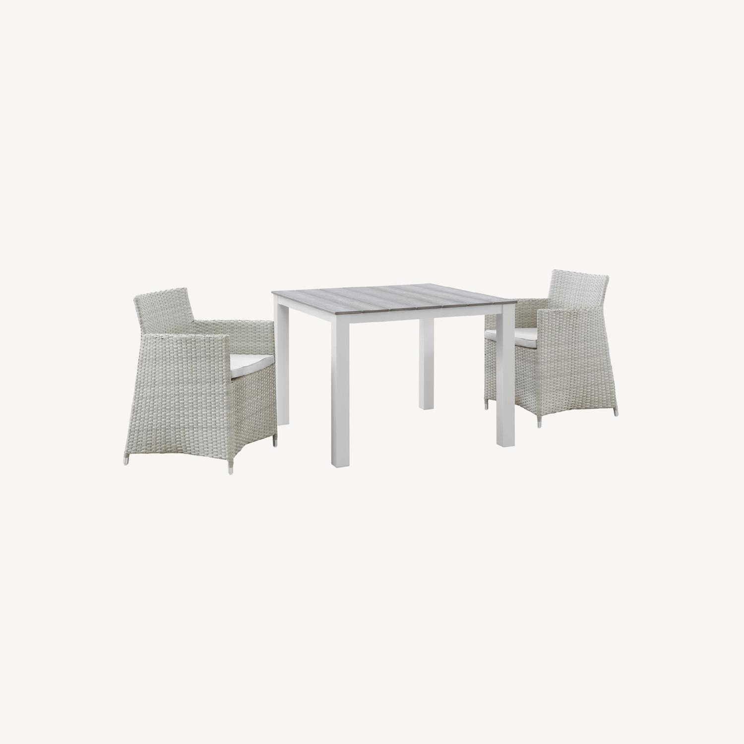 Modern 3-Piece Dining Set In White & Gray - image-6
