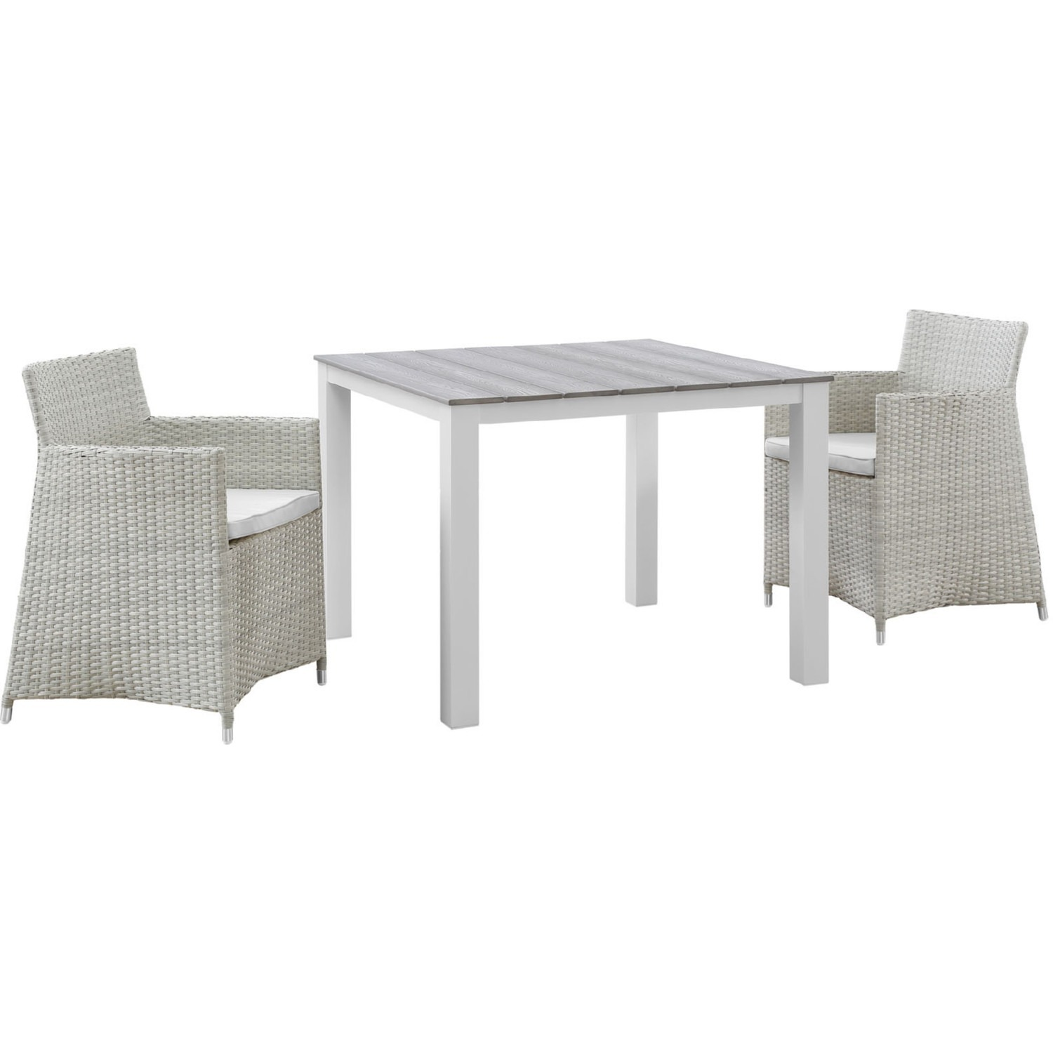 Modern 3-Piece Dining Set In White & Gray - image-0