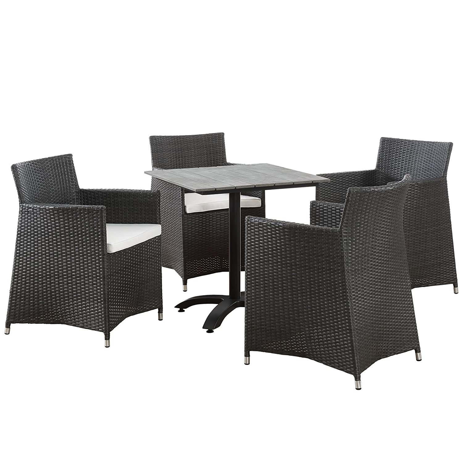 Modern 5-Piece Dining Set In White & Brown - image-0