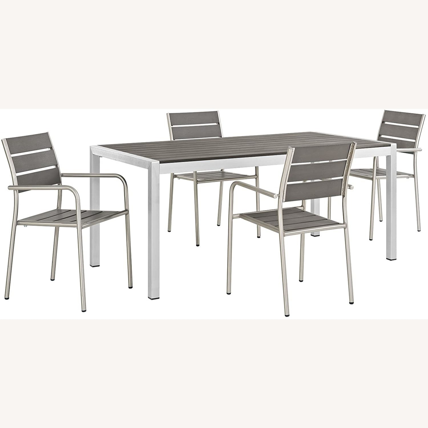 Modern 5-Piece Dining Set In Silver Gray Finish - image-0