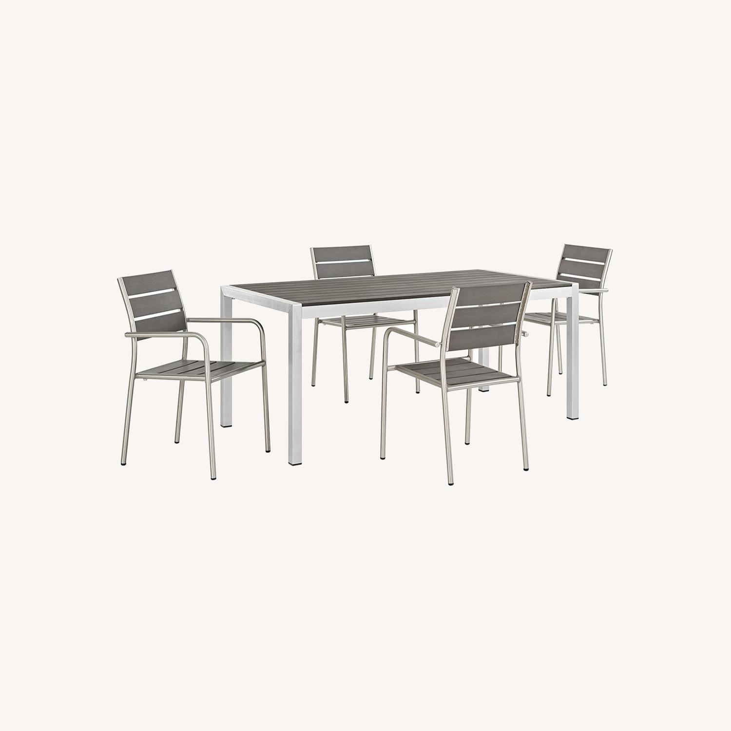 Modern 5-Piece Dining Set In Silver Gray Finish - image-7