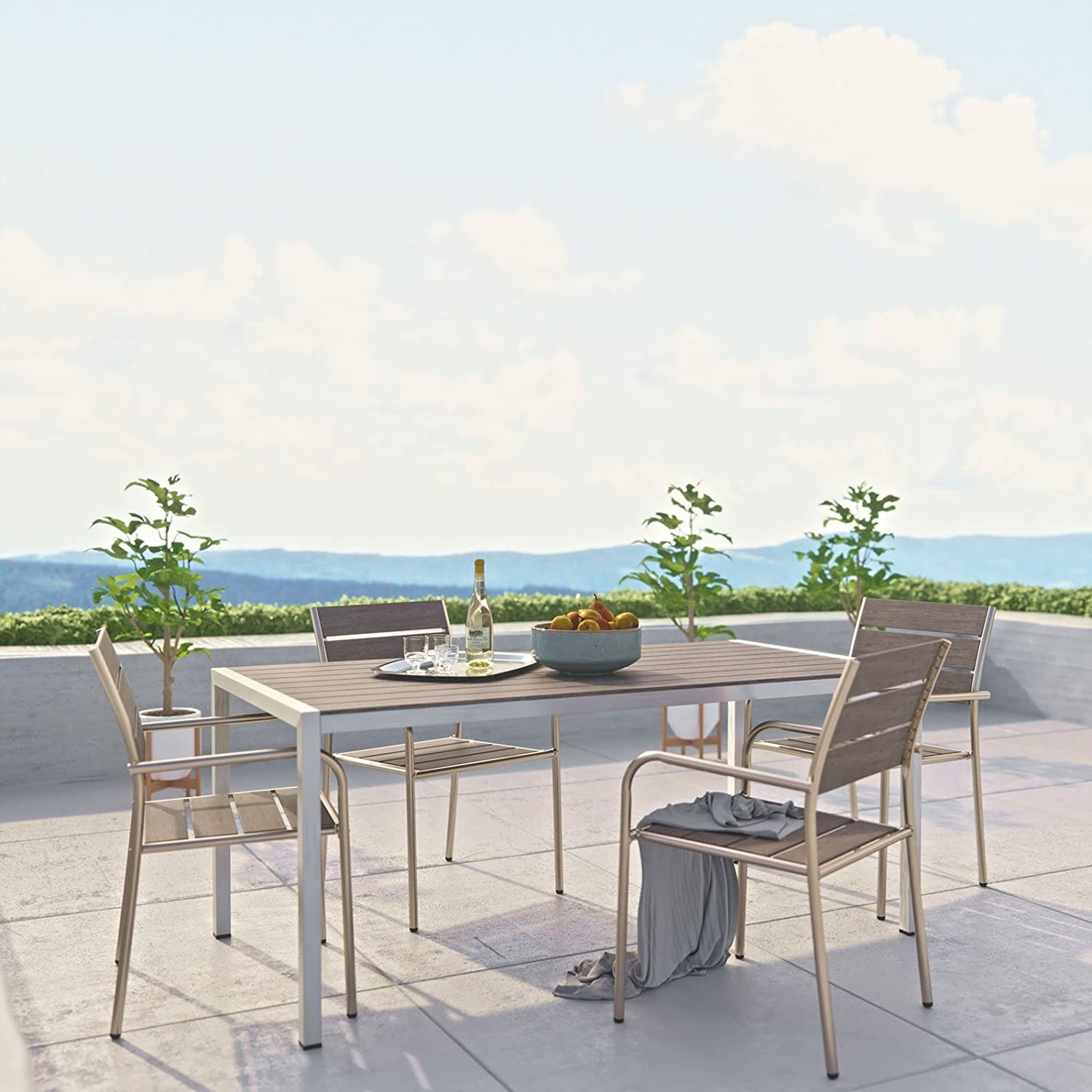 Modern 5-Piece Dining Set In Silver Gray Finish - image-6
