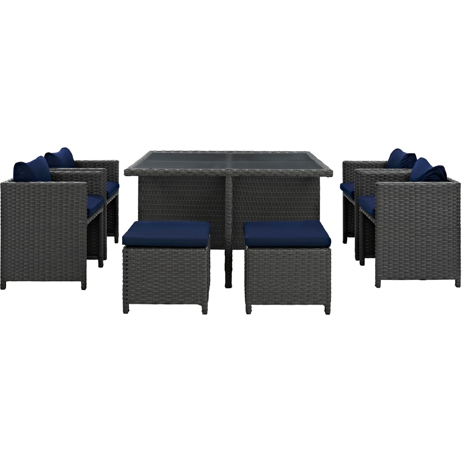 Modern 9-Piece Dining Set In Canvas Navy Finish - image-3