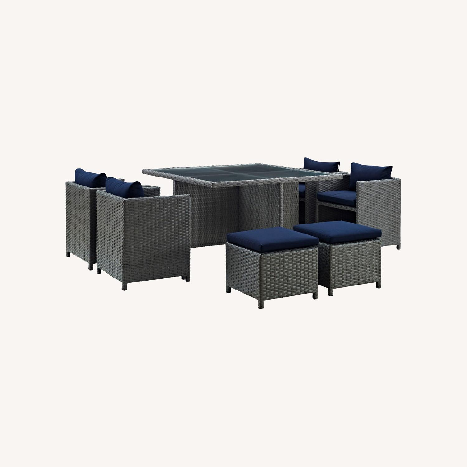 Modern 9-Piece Dining Set In Canvas Navy Finish - image-5