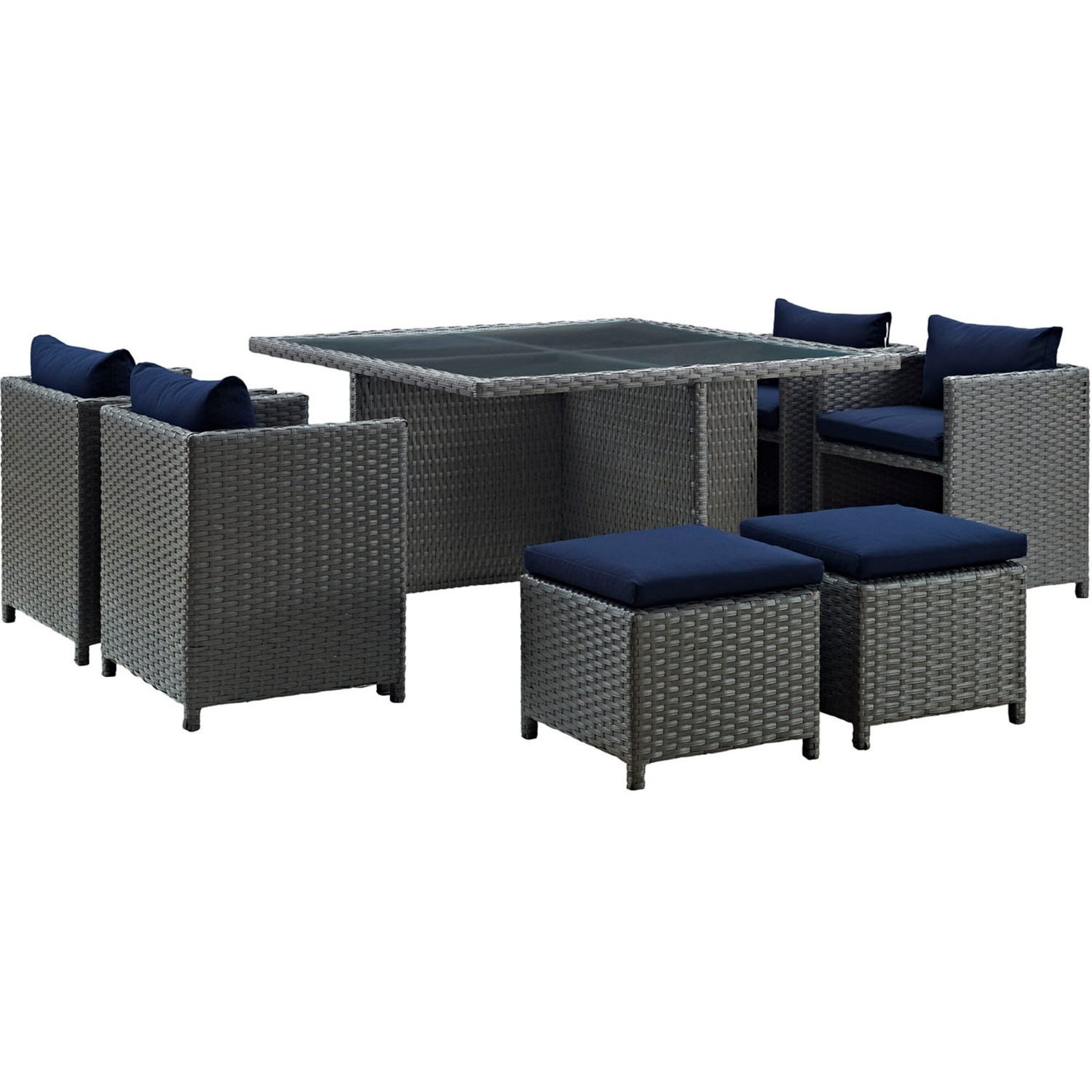 Modern 9-Piece Dining Set In Canvas Navy Finish - image-0