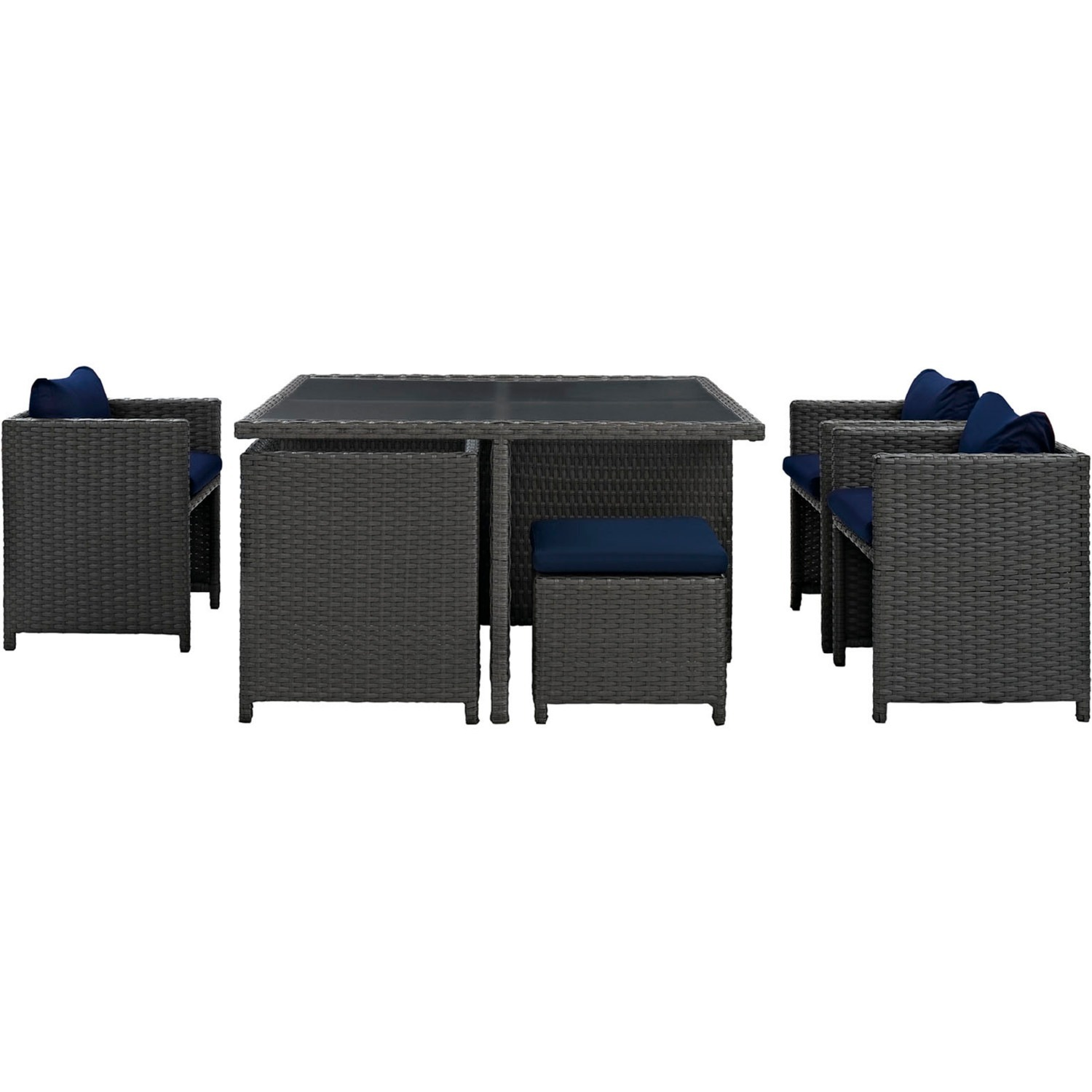 Modern 9-Piece Dining Set In Canvas Navy Finish - image-2