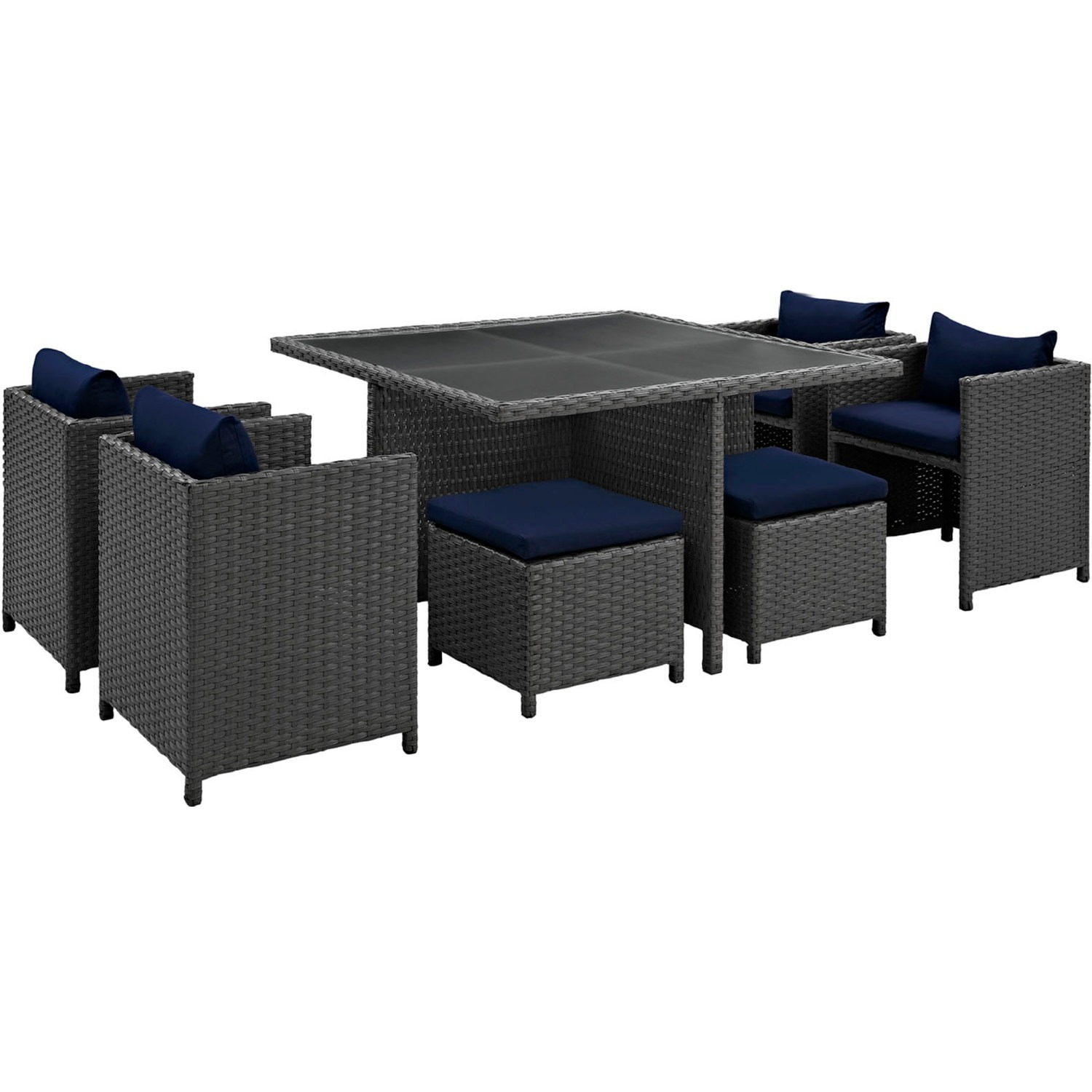 Modern 9-Piece Dining Set In Canvas Navy Finish - image-1