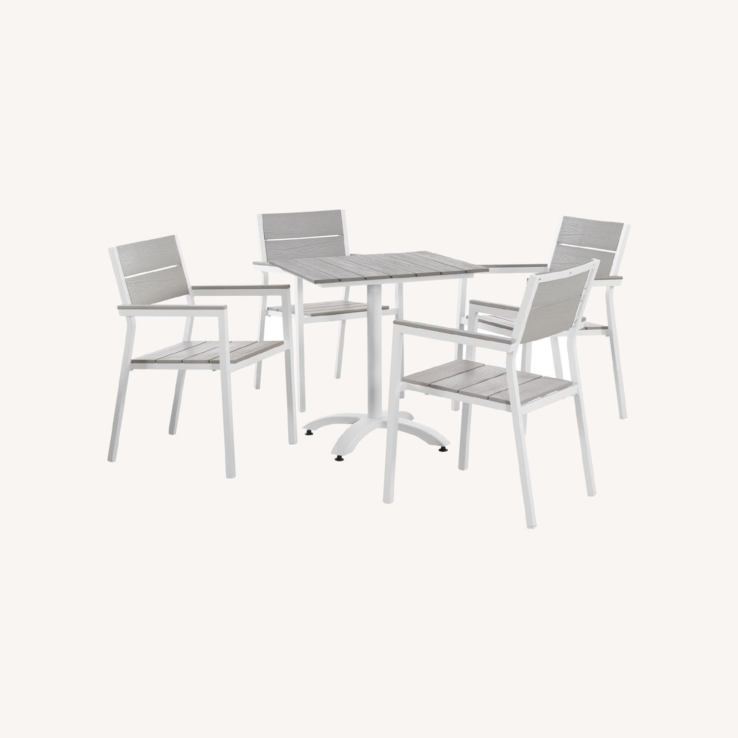 5-Piece Dining Set In Light Gray Wood Finish - image-7