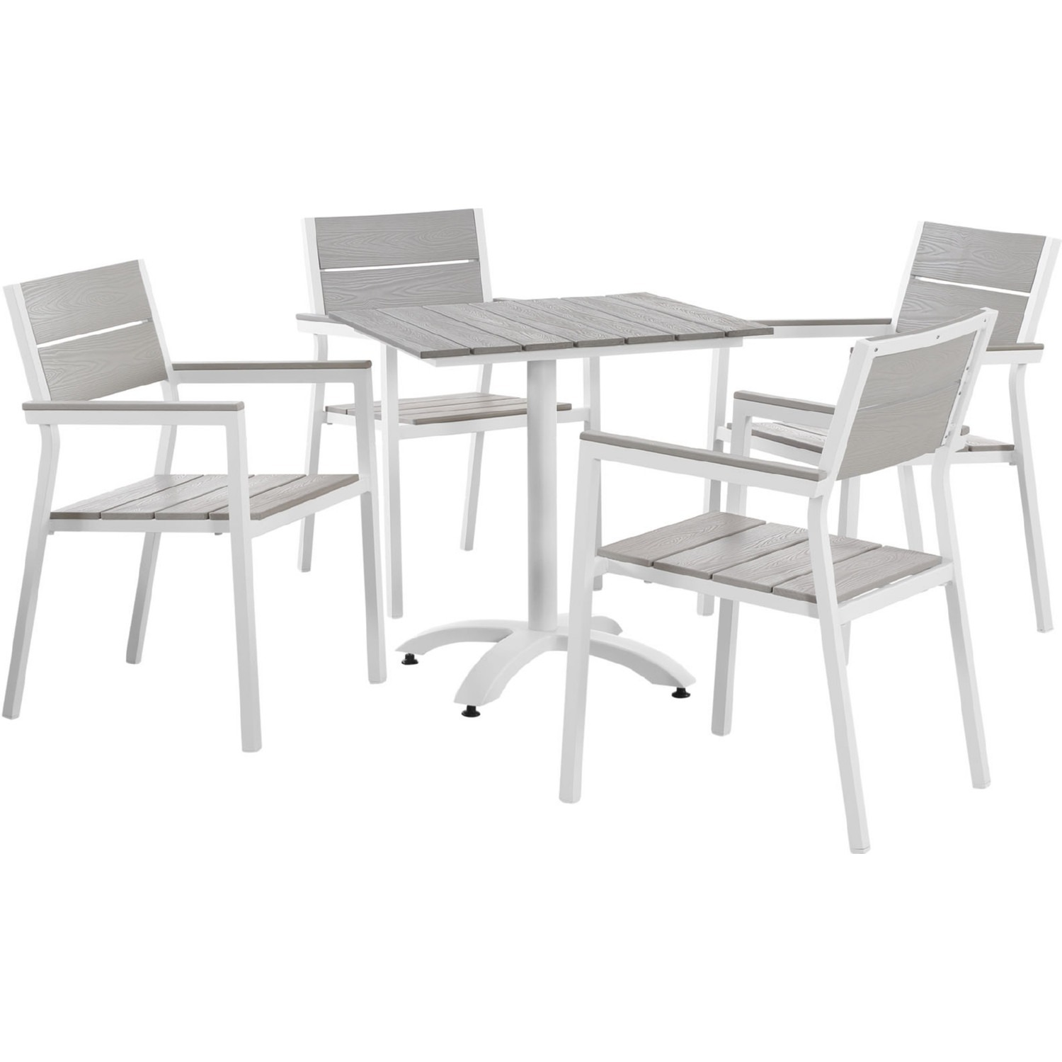 5-Piece Dining Set In Light Gray Wood Finish - image-0