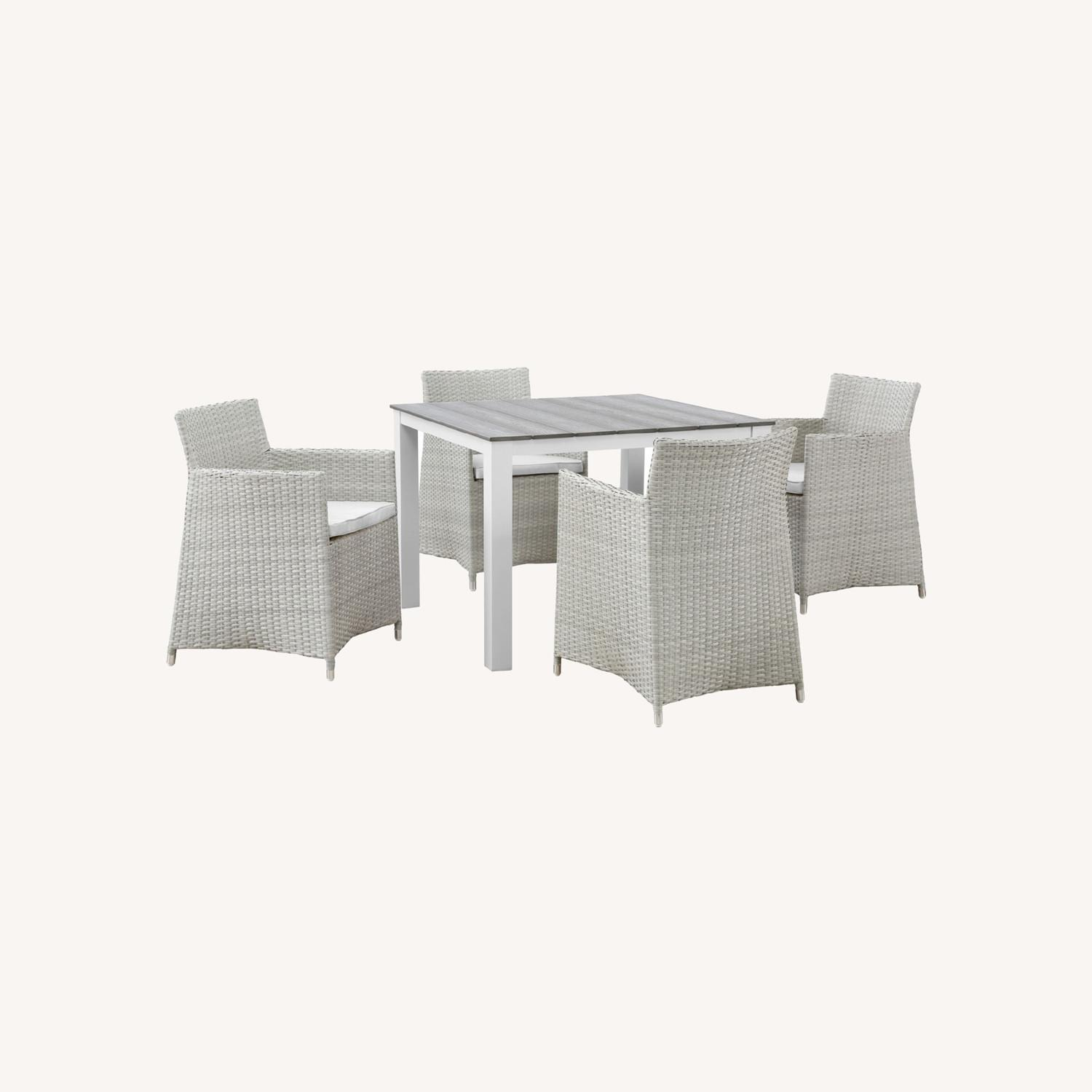 Modern 5-Piece Dining Set In Gray Rattan Weave - image-7
