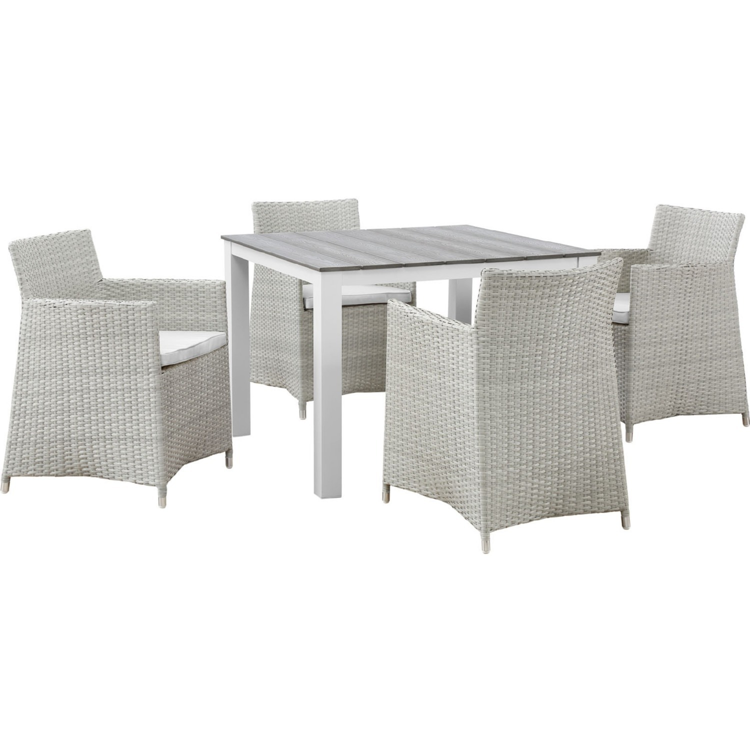 Modern 5-Piece Dining Set In Gray Rattan Weave - image-0