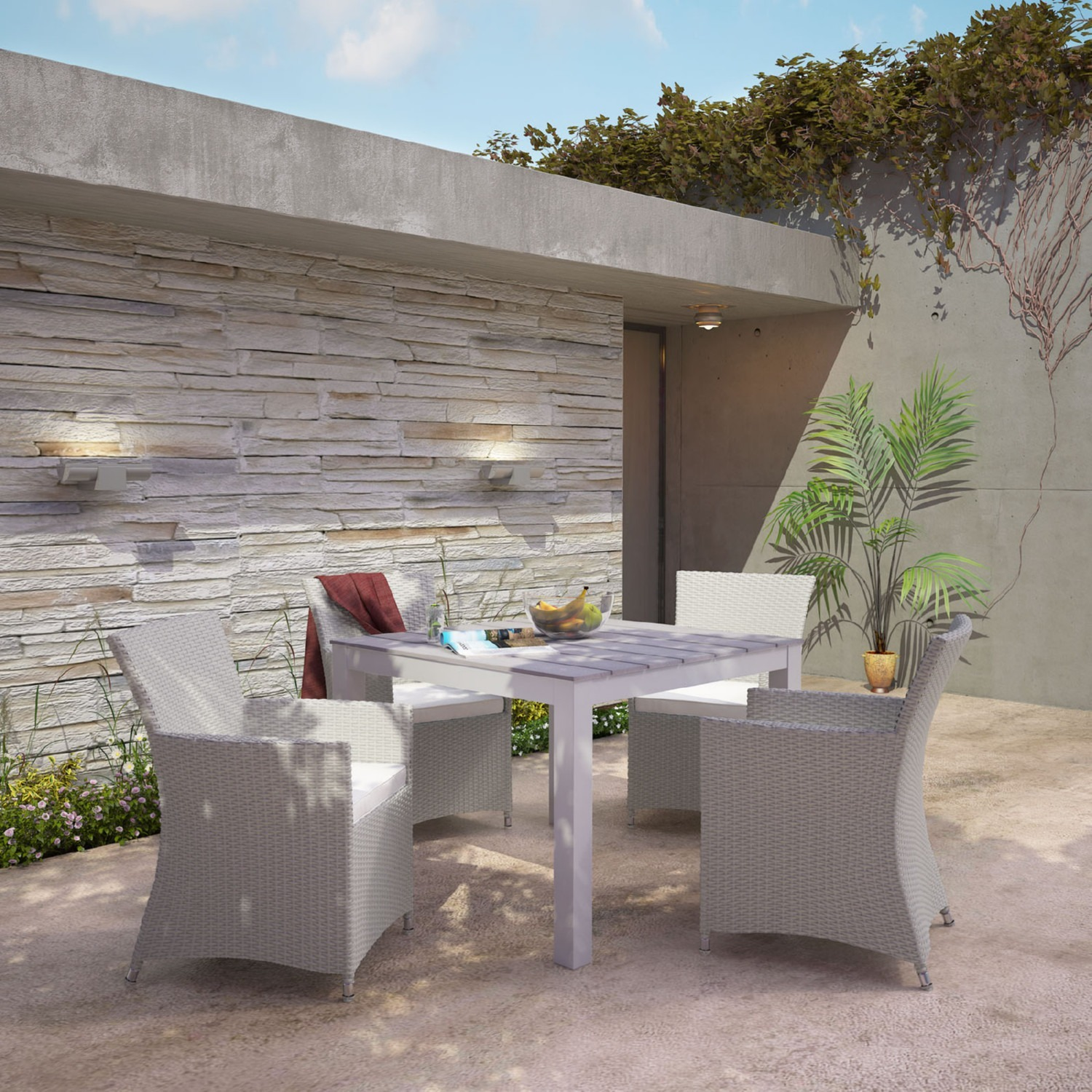 Modern 5-Piece Dining Set In Gray Rattan Weave - image-6