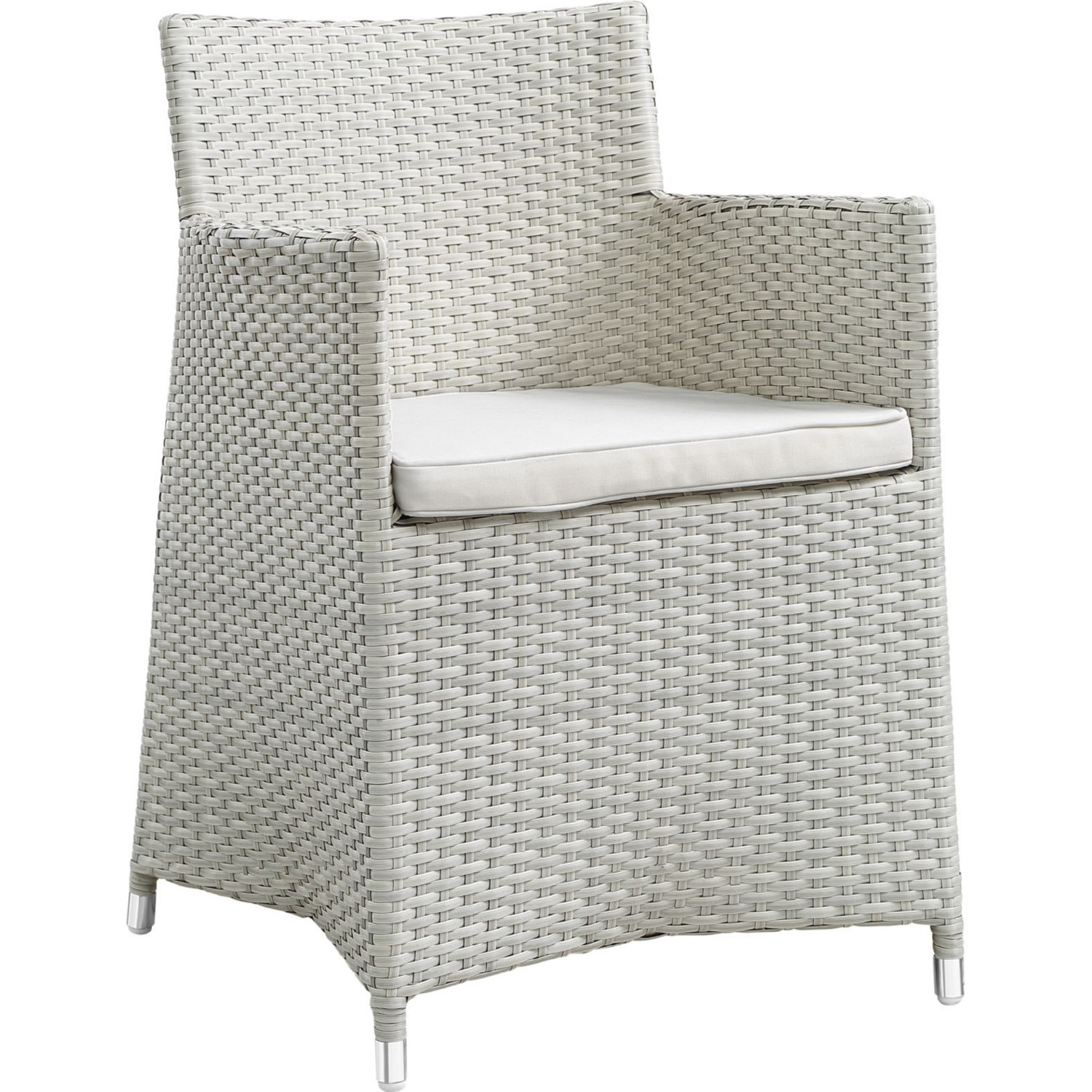 Modern 5-Piece Dining Set In Gray Rattan Weave - image-1