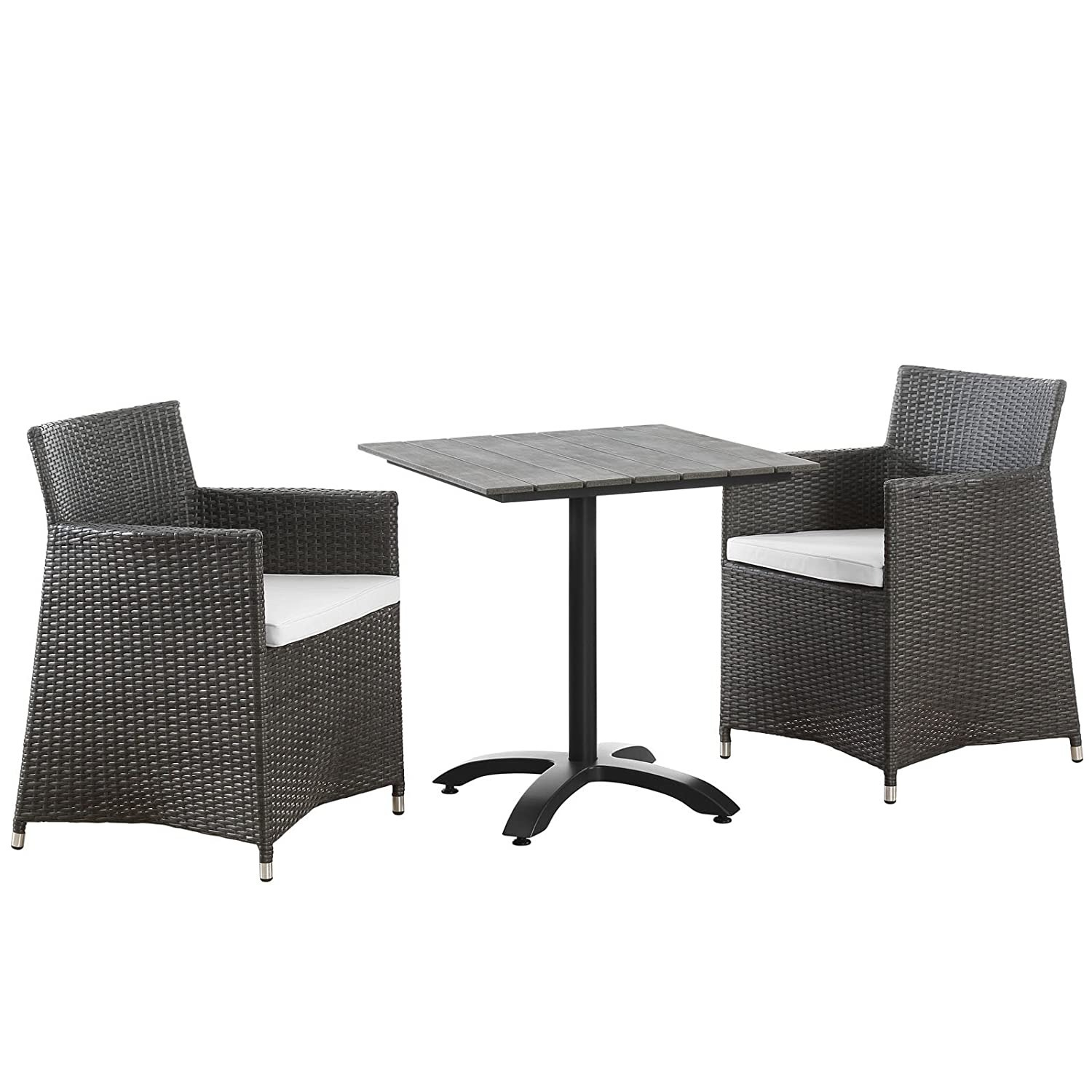Modern 3-Piece Dining Set In Brown Rattan Weave - image-0