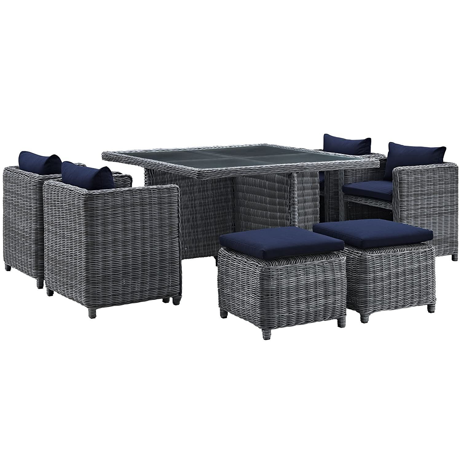 Modern 9-Piece Dining Set In Gray Navy Finish - image-0