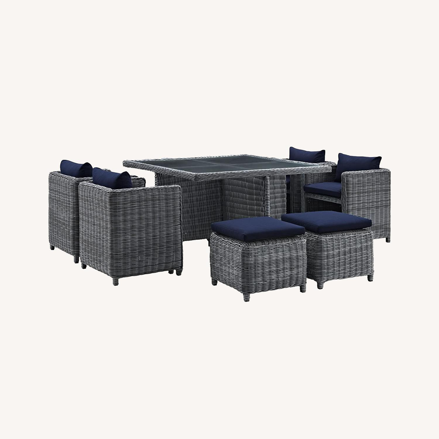 Modern 9-Piece Dining Set In Gray Navy Finish - image-5
