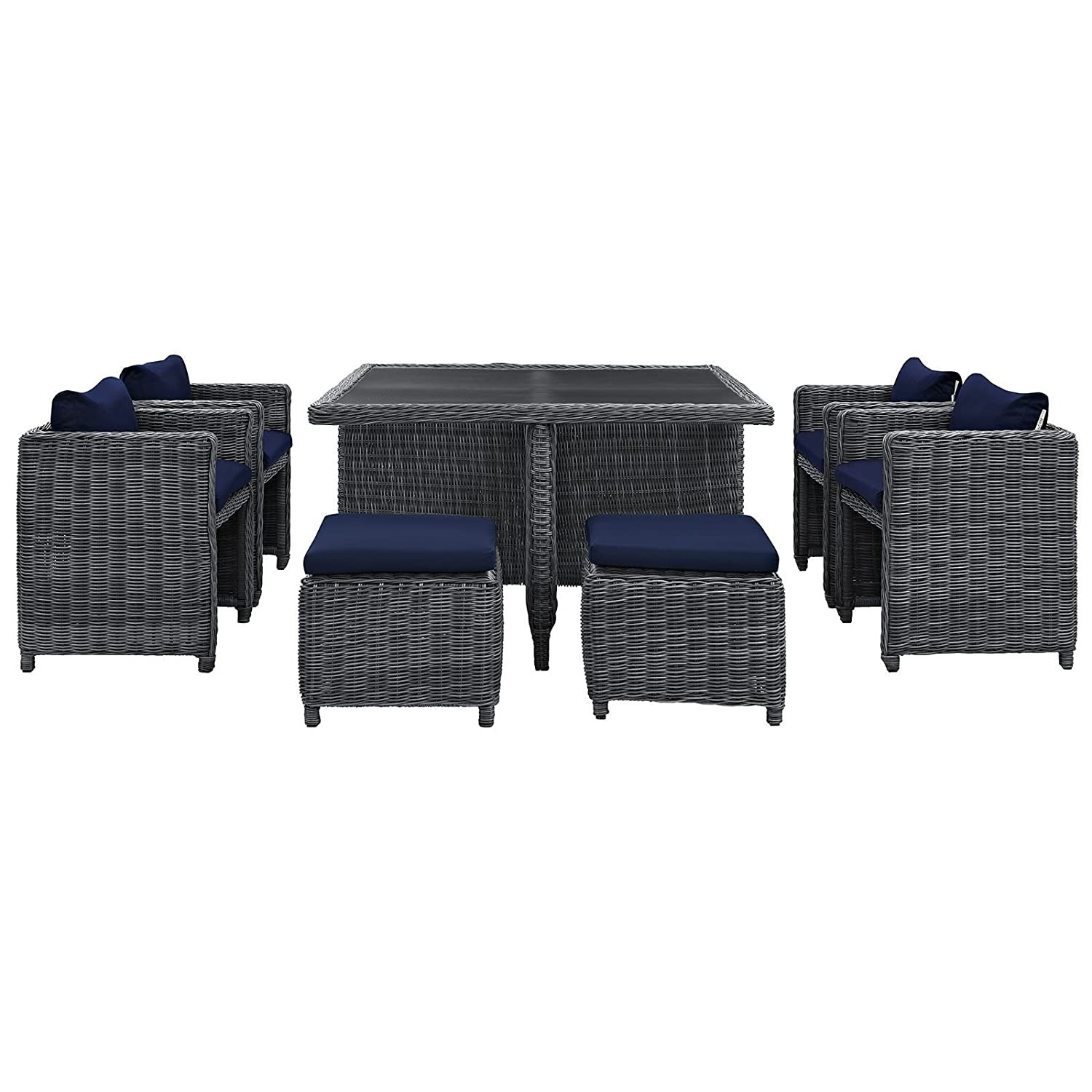 Modern 9-Piece Dining Set In Gray Navy Finish - image-2
