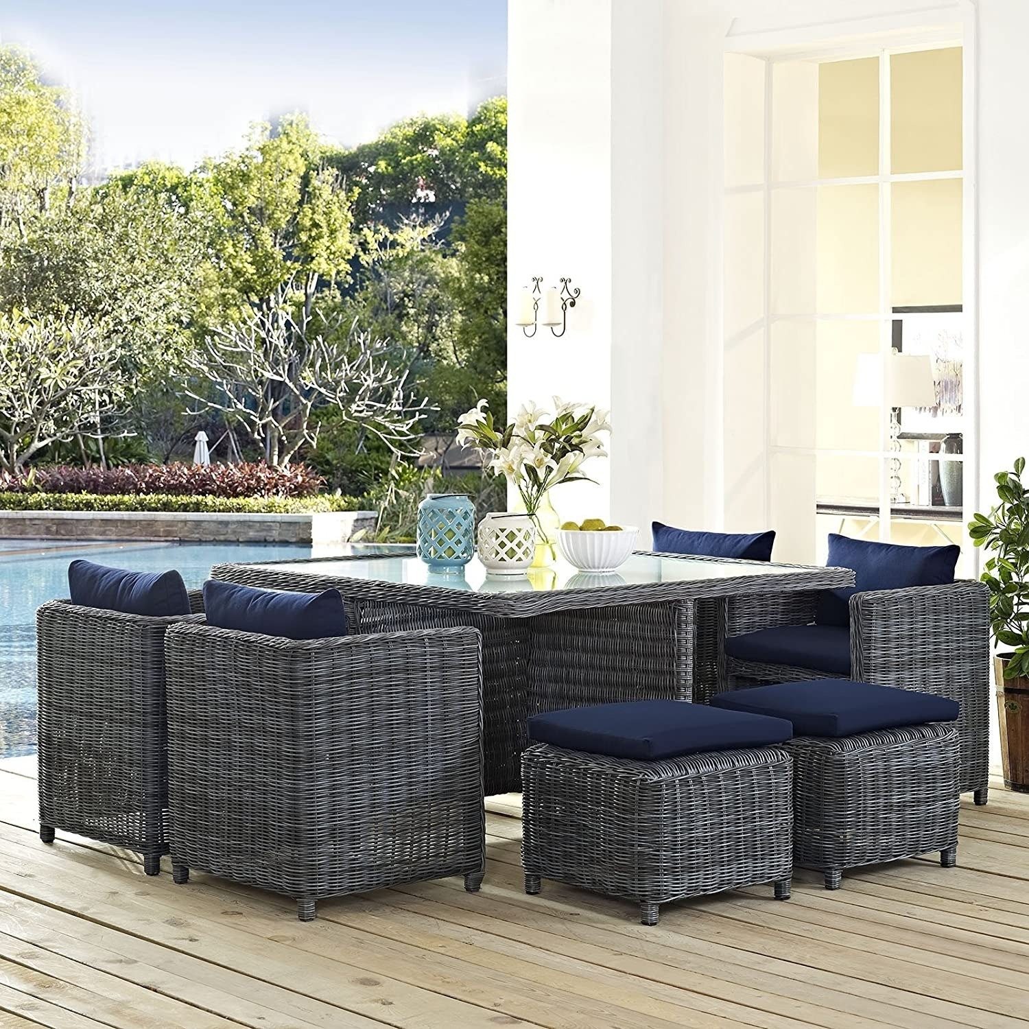 Modern 9-Piece Dining Set In Gray Navy Finish - image-4