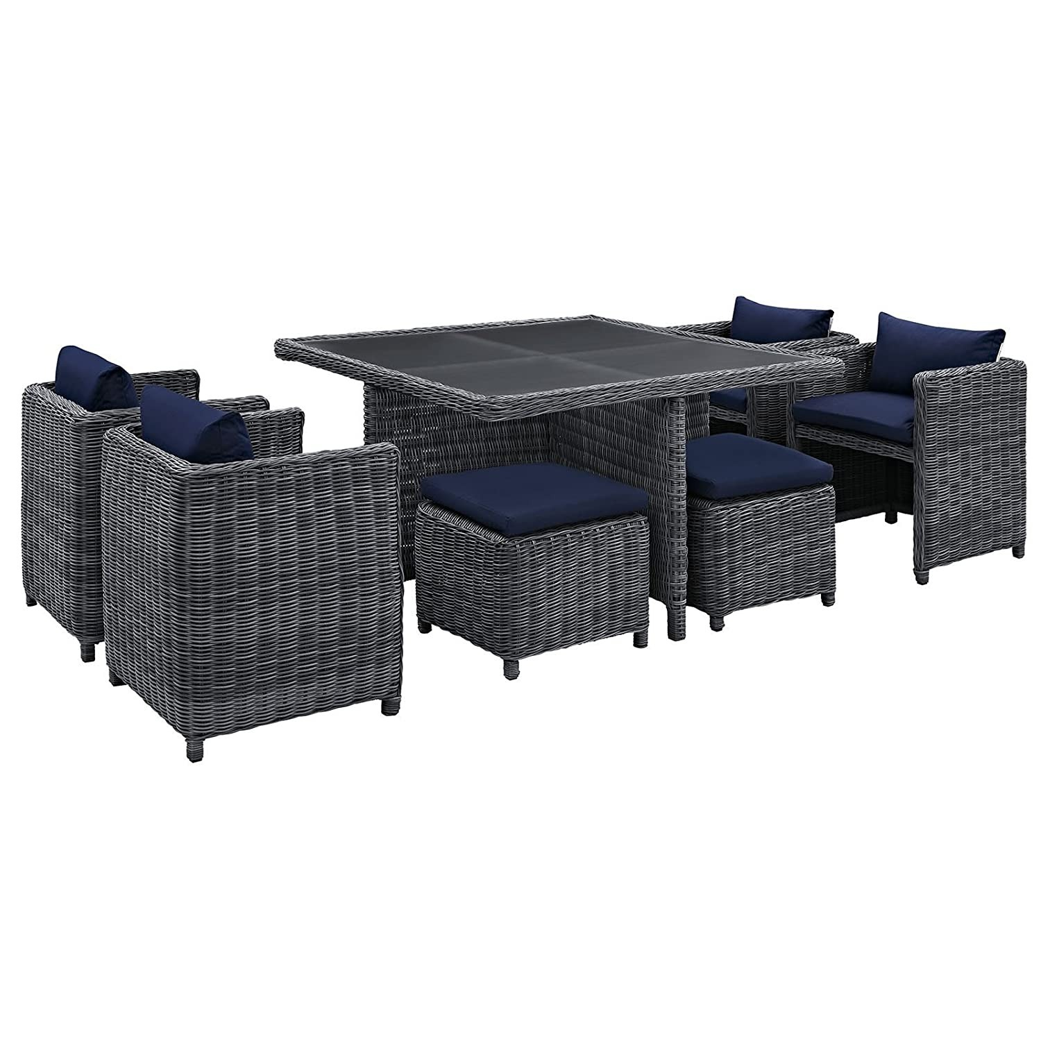 Modern 9-Piece Dining Set In Gray Navy Finish - image-1