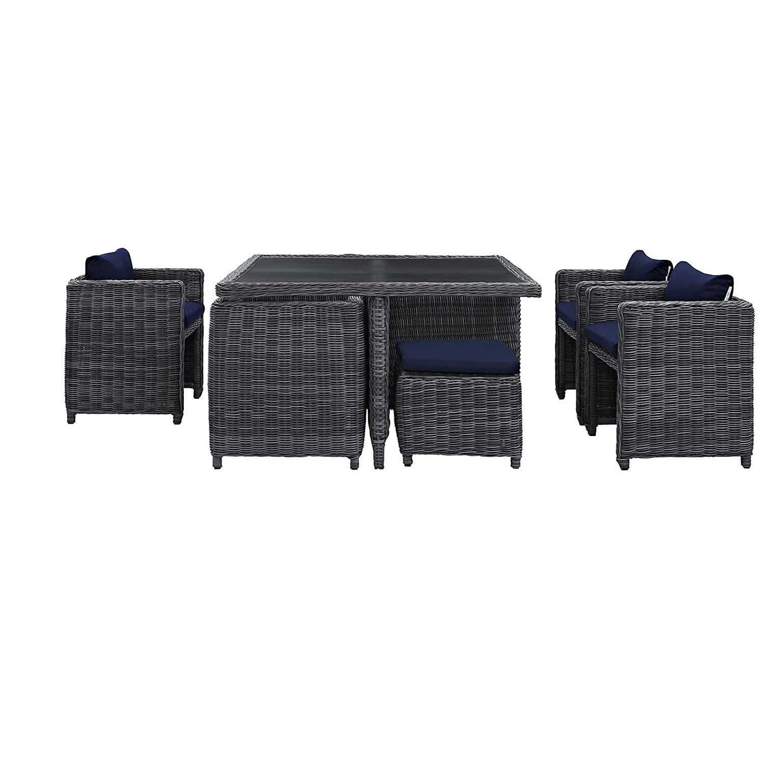 Modern 9-Piece Dining Set In Gray Navy Finish - image-3