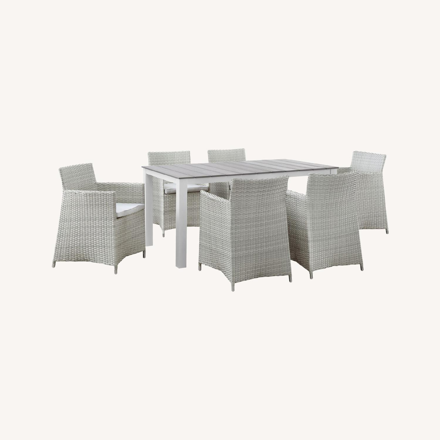 7-Piece Dining Set In Gray Rattan Weave Finish - image-6