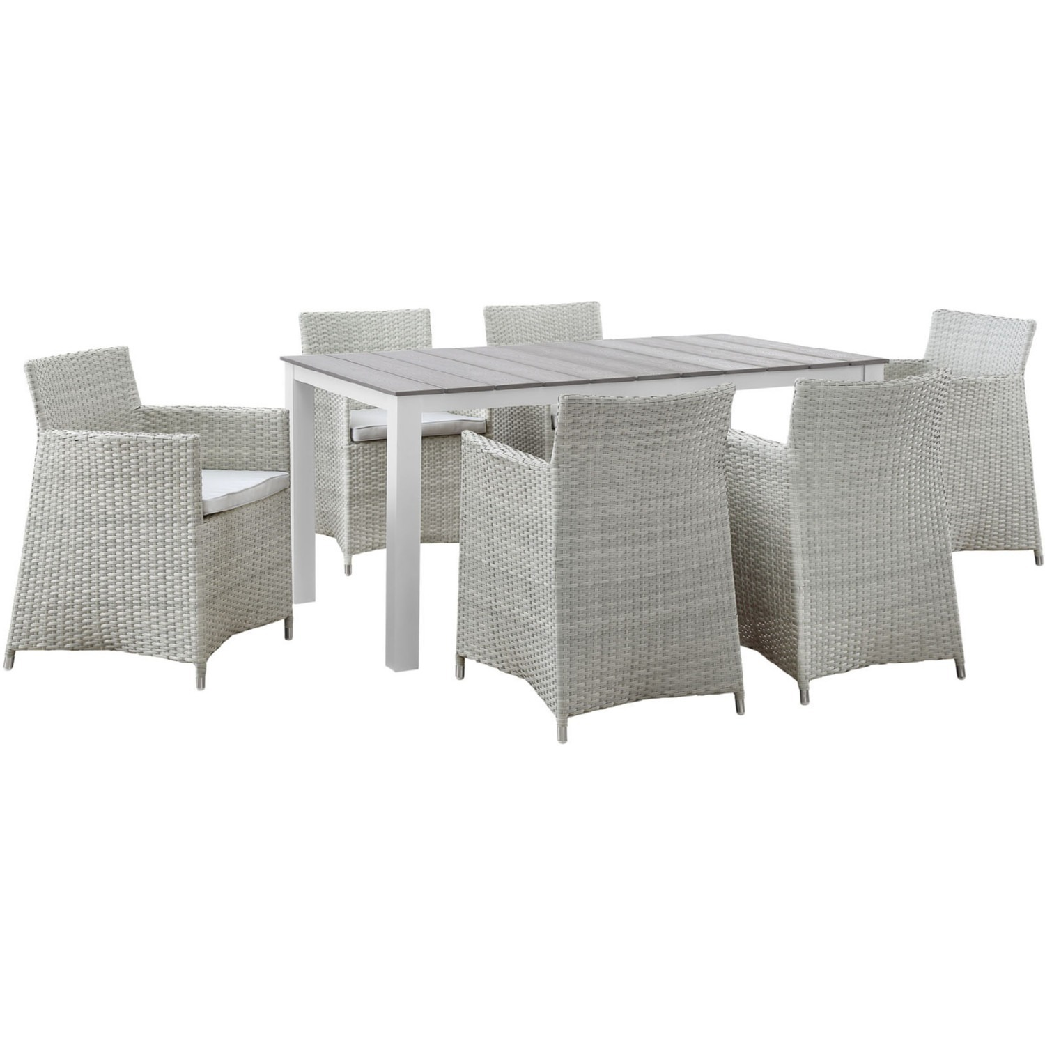 7-Piece Dining Set In Gray Rattan Weave Finish - image-0