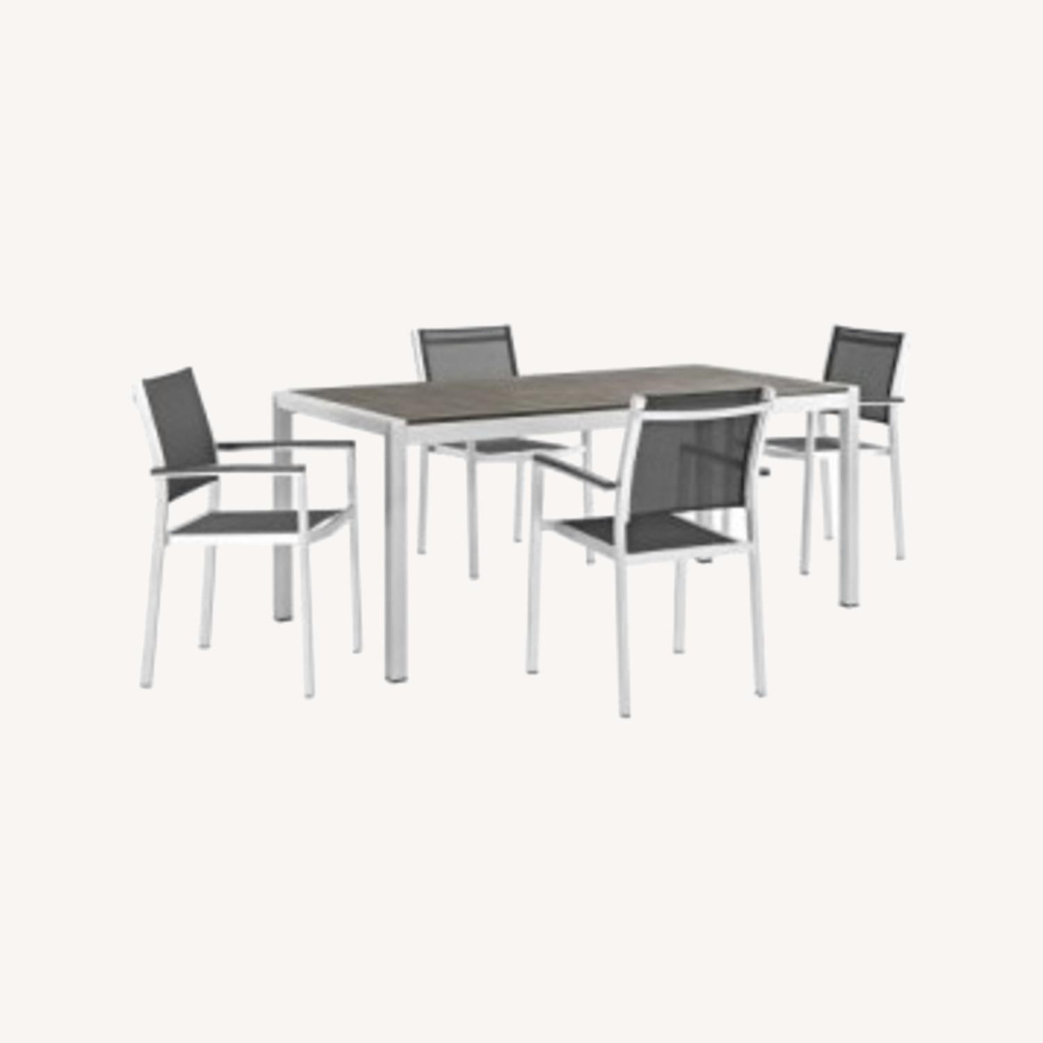 5-Piece Dining Set In Black Plastic Wood Accent - image-7