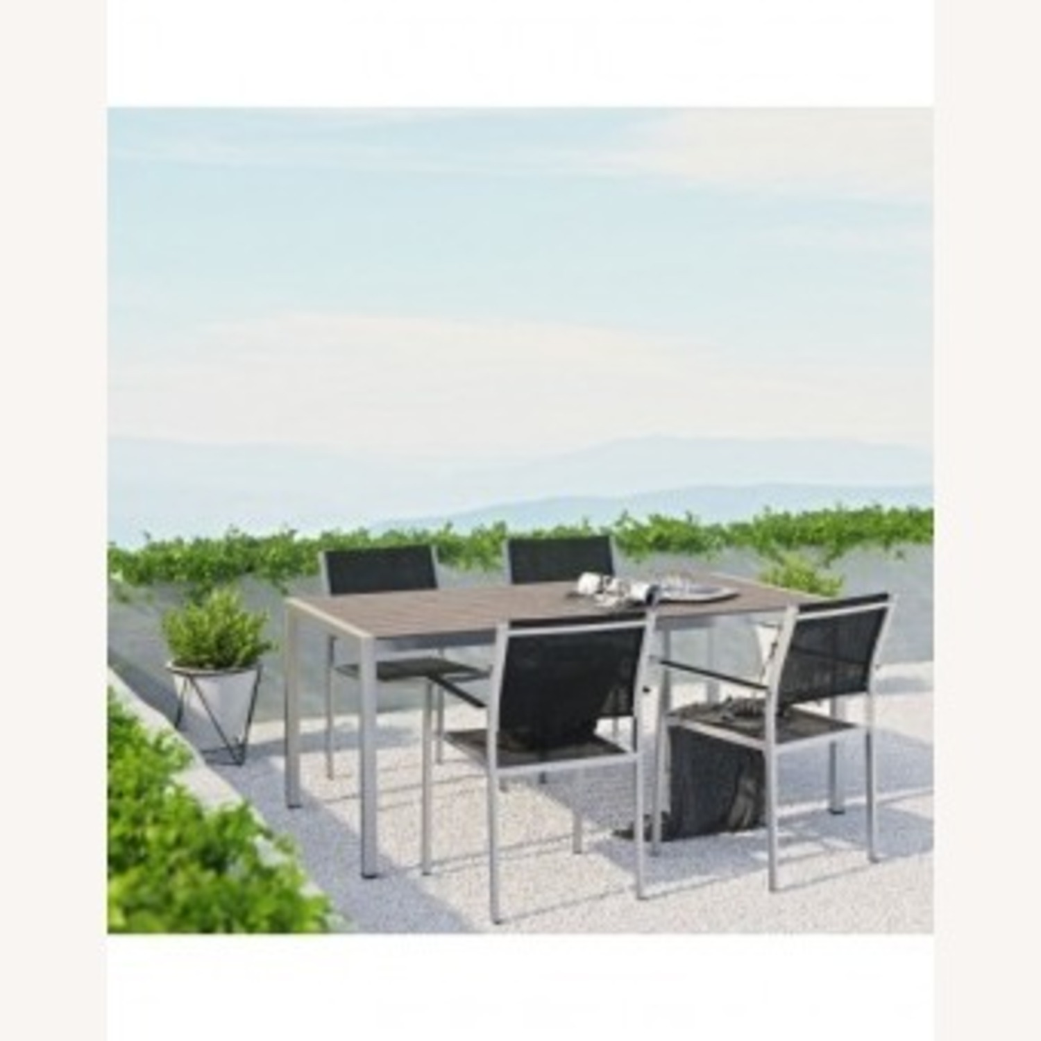5-Piece Dining Set In Black Plastic Wood Accent - image-6