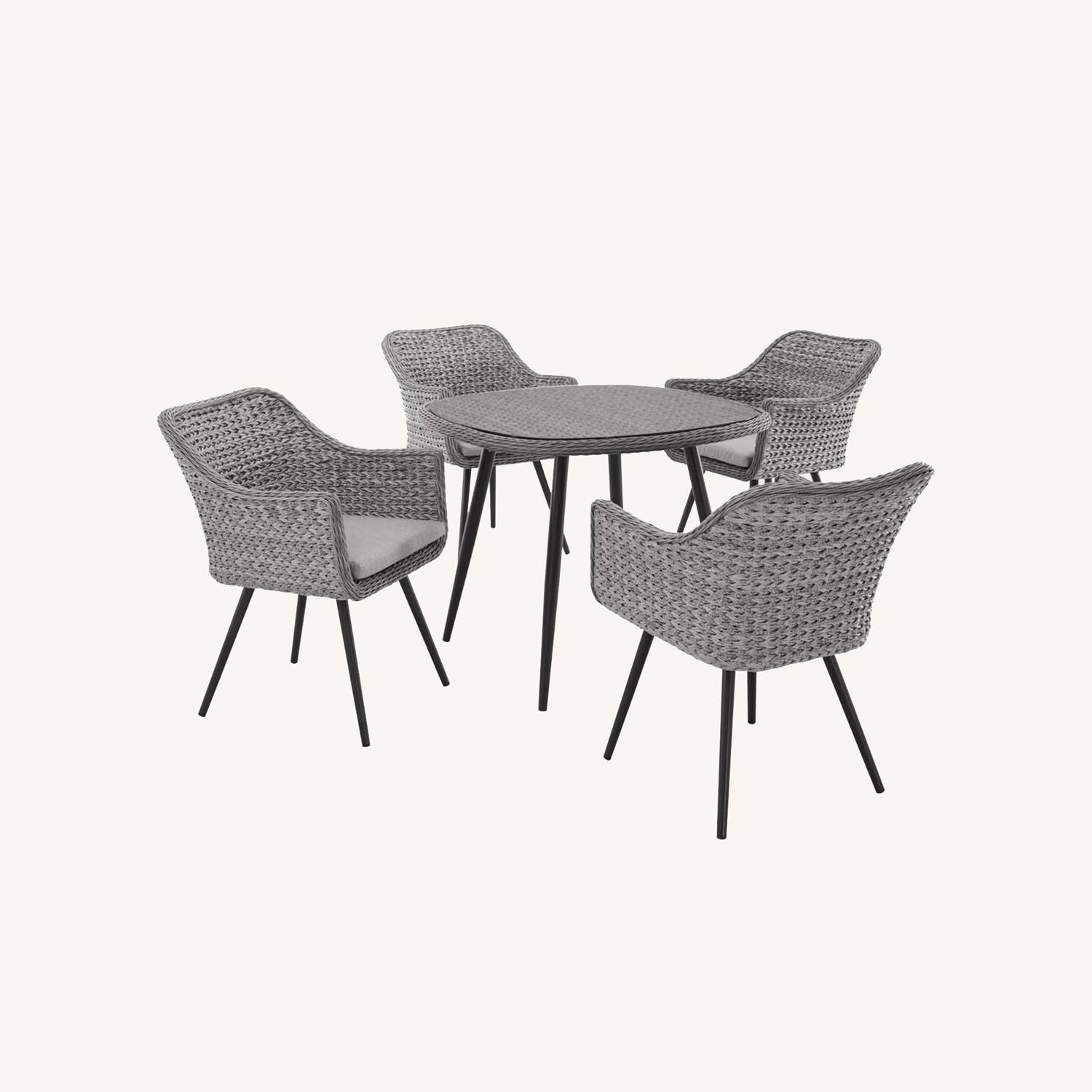 Modern 5-Piece Dining Set In Gray-On-Gray Tone - image-8