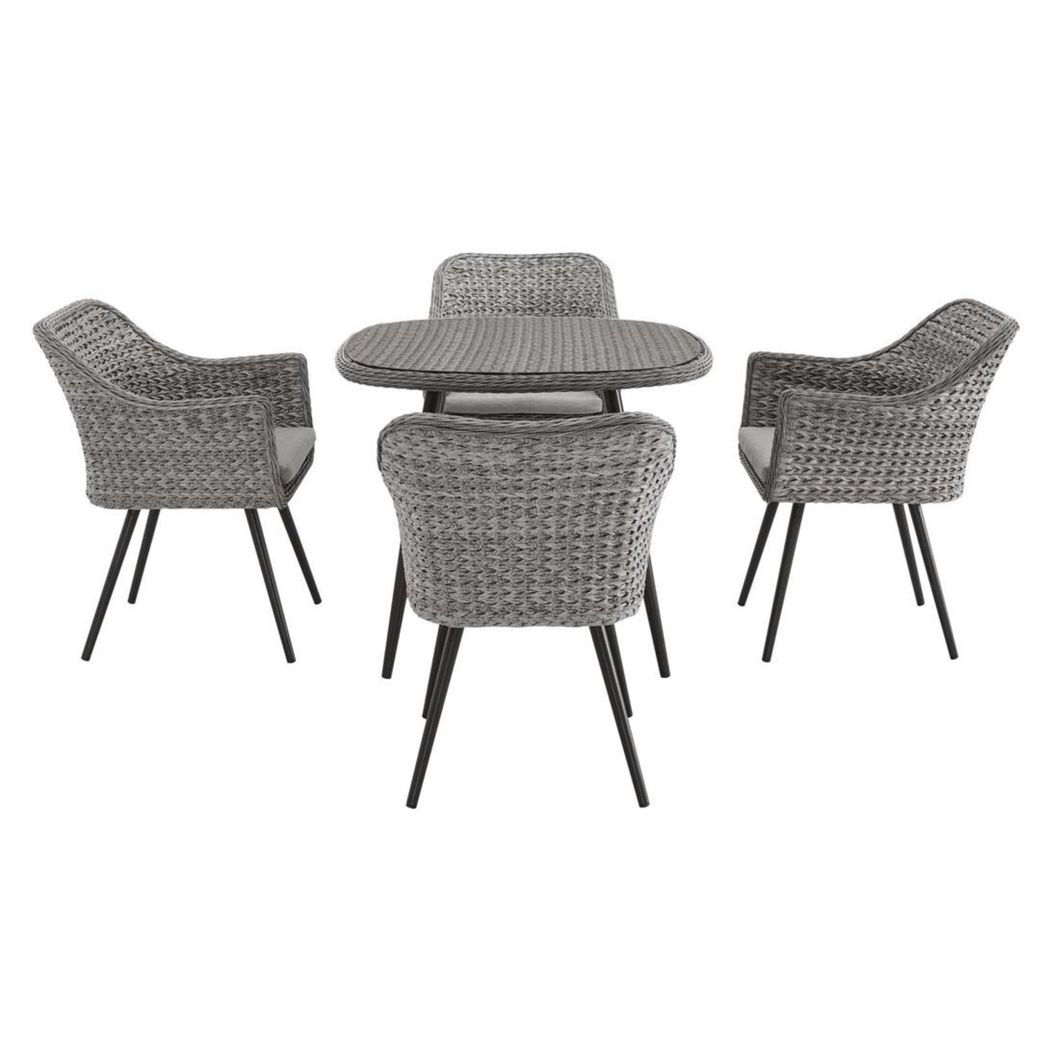 Modern 5-Piece Dining Set In Gray-On-Gray Tone - image-2