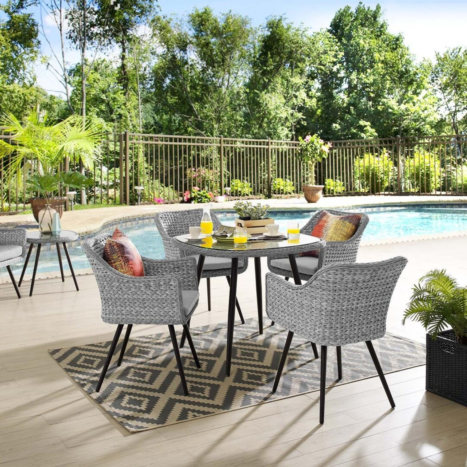 Modern 5-Piece Dining Set In Gray-On-Gray Tone - image-7