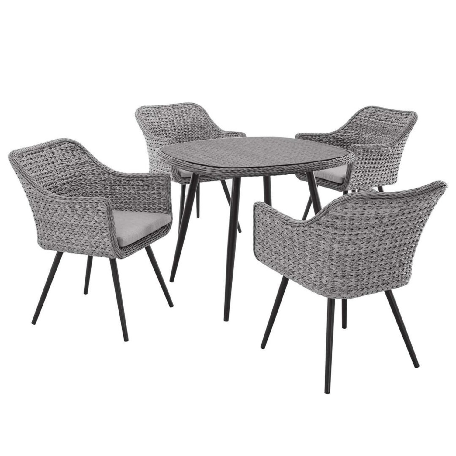 Modern 5-Piece Dining Set In Gray-On-Gray Tone - image-0