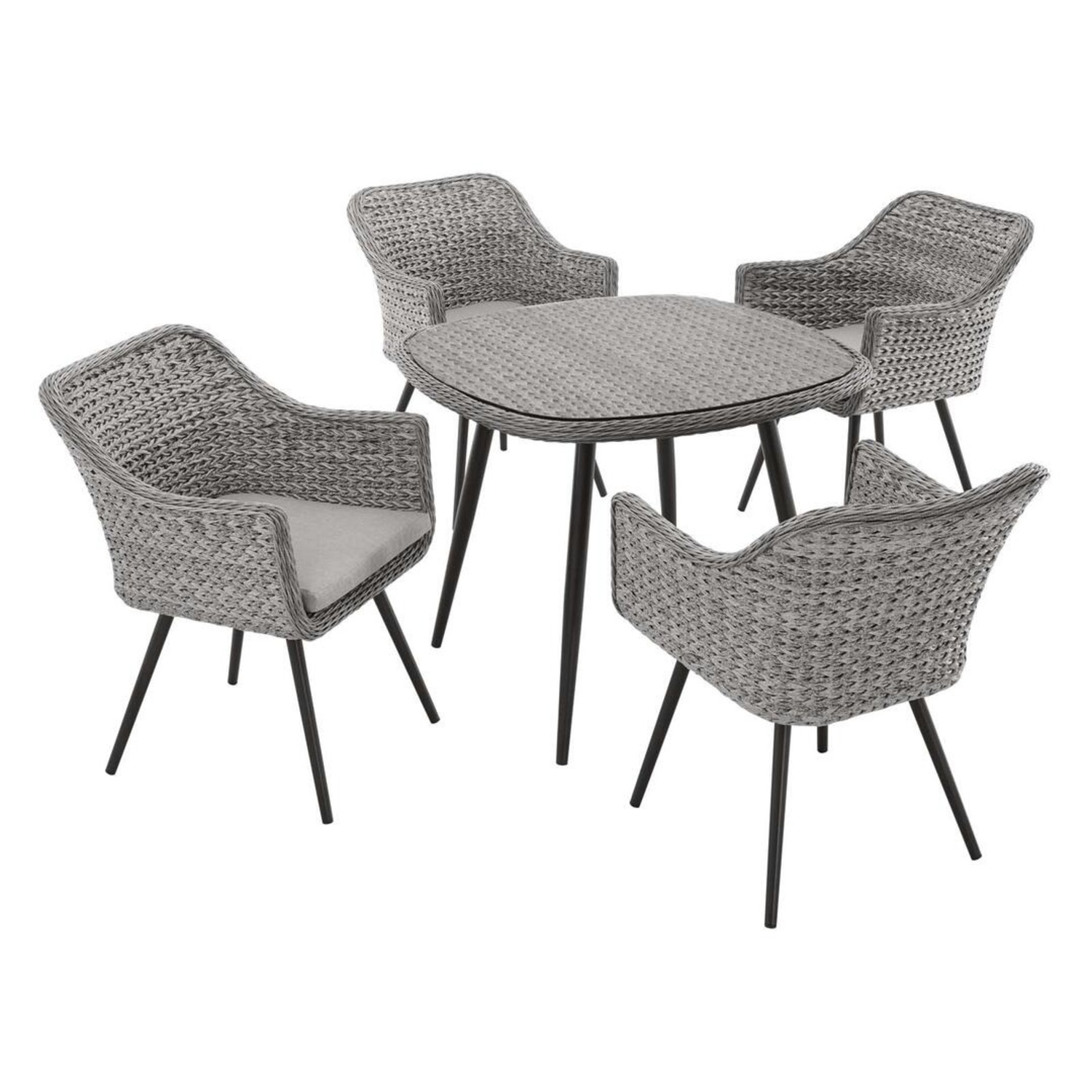 Modern 5-Piece Dining Set In Gray-On-Gray Tone - image-1