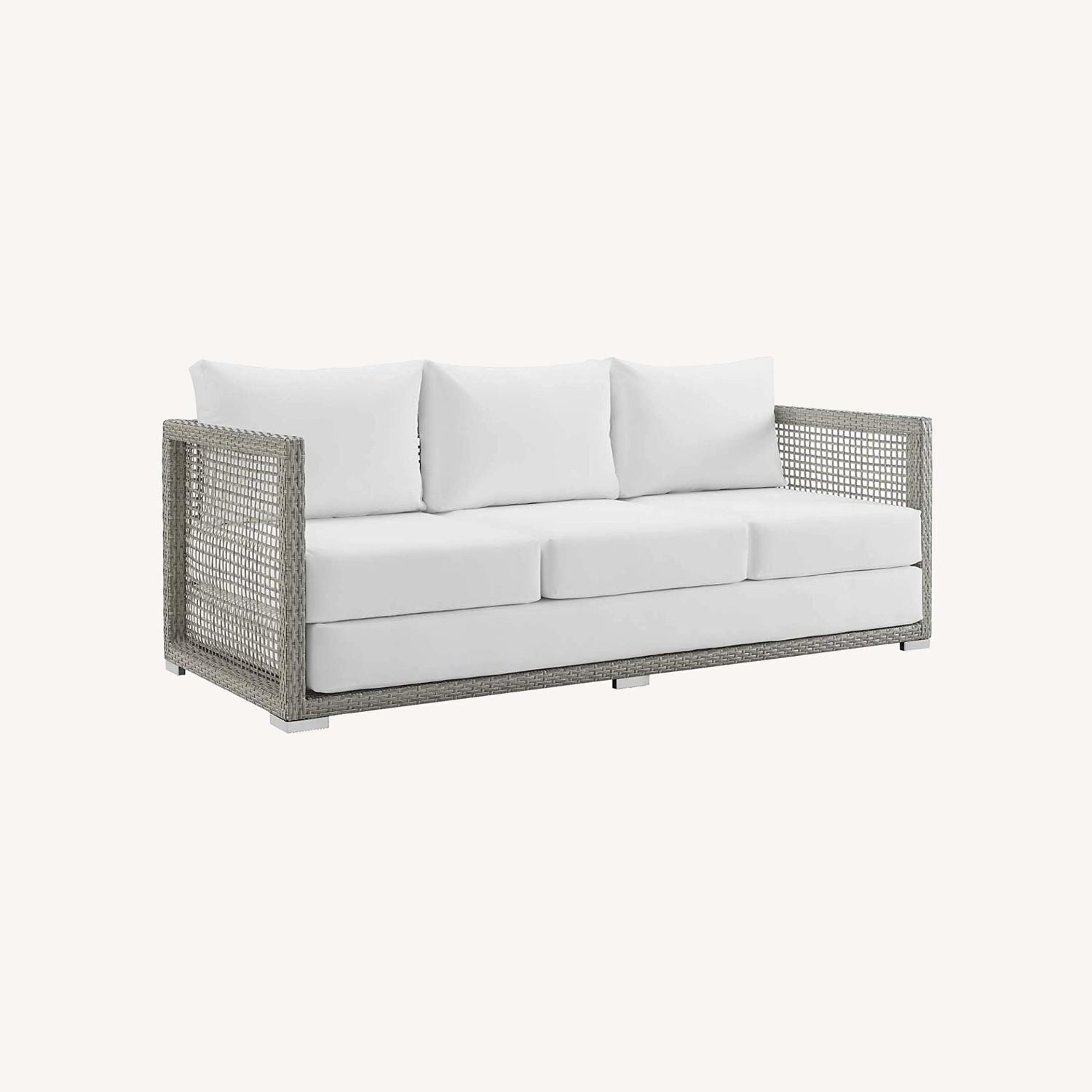 Outdoor Sofa In Gray Rattan Weave Finish - image-9