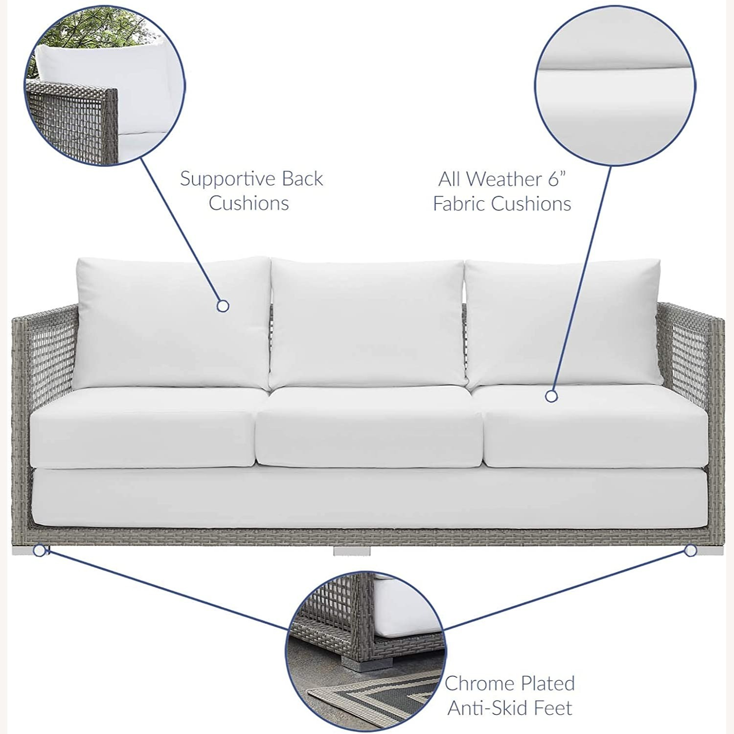 Outdoor Sofa In Gray Rattan Weave Finish - image-4