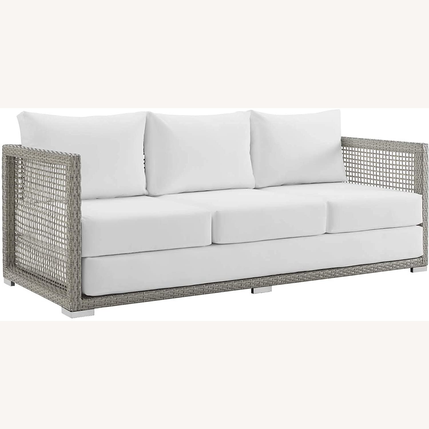 Outdoor Sofa In Gray Rattan Weave Finish - image-0