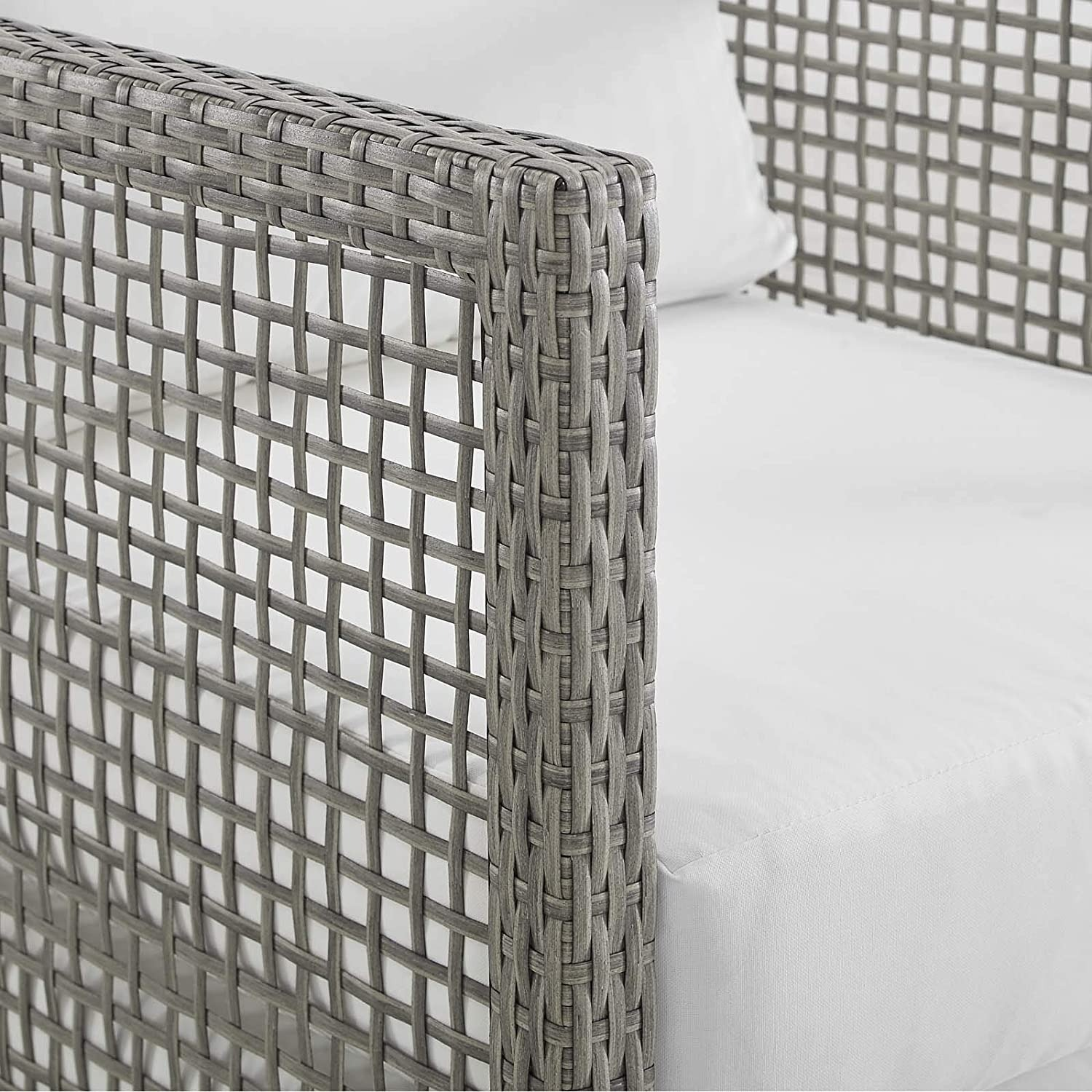 Outdoor Sofa In Gray Rattan Weave Finish - image-3