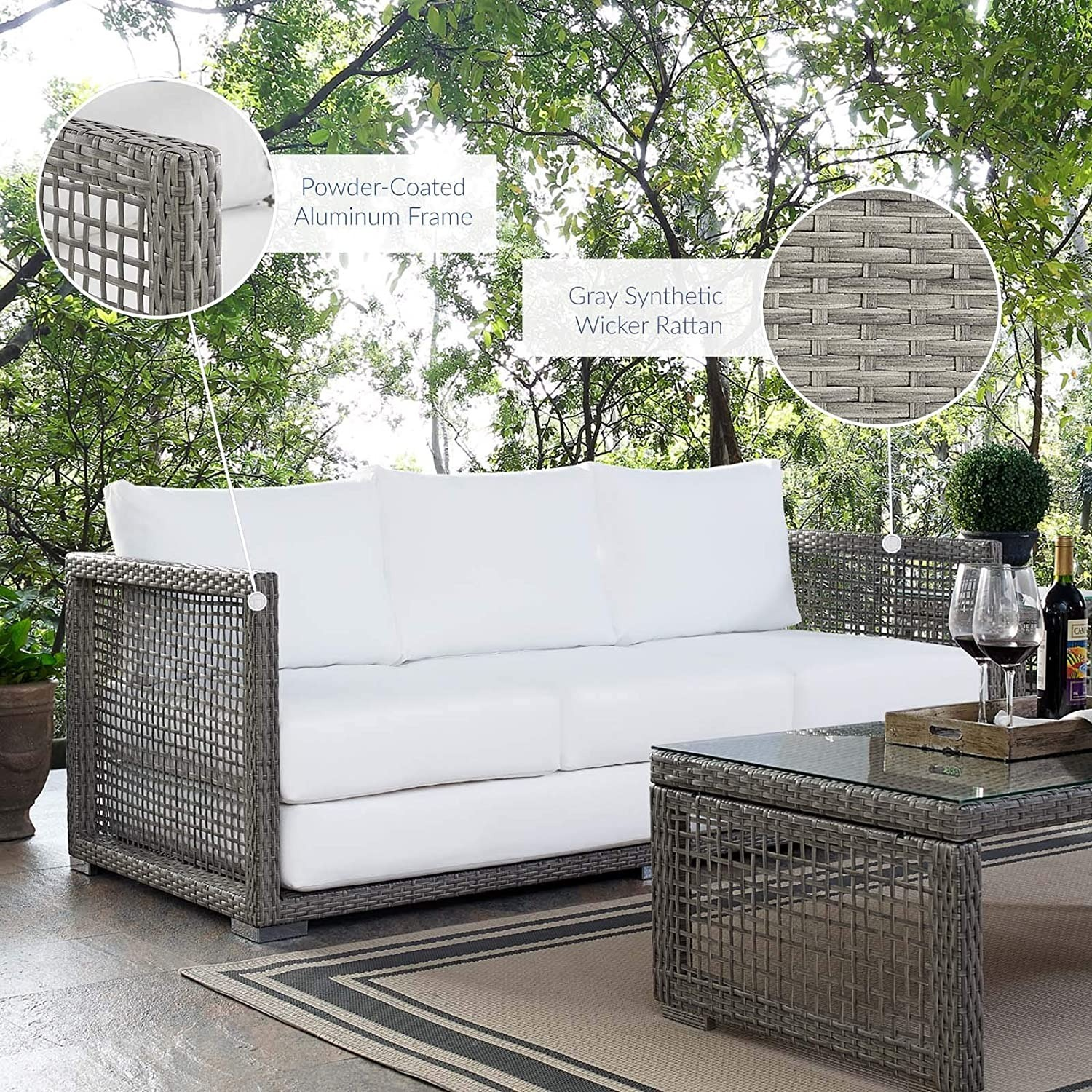Outdoor Sofa In Gray Rattan Weave Finish - image-5