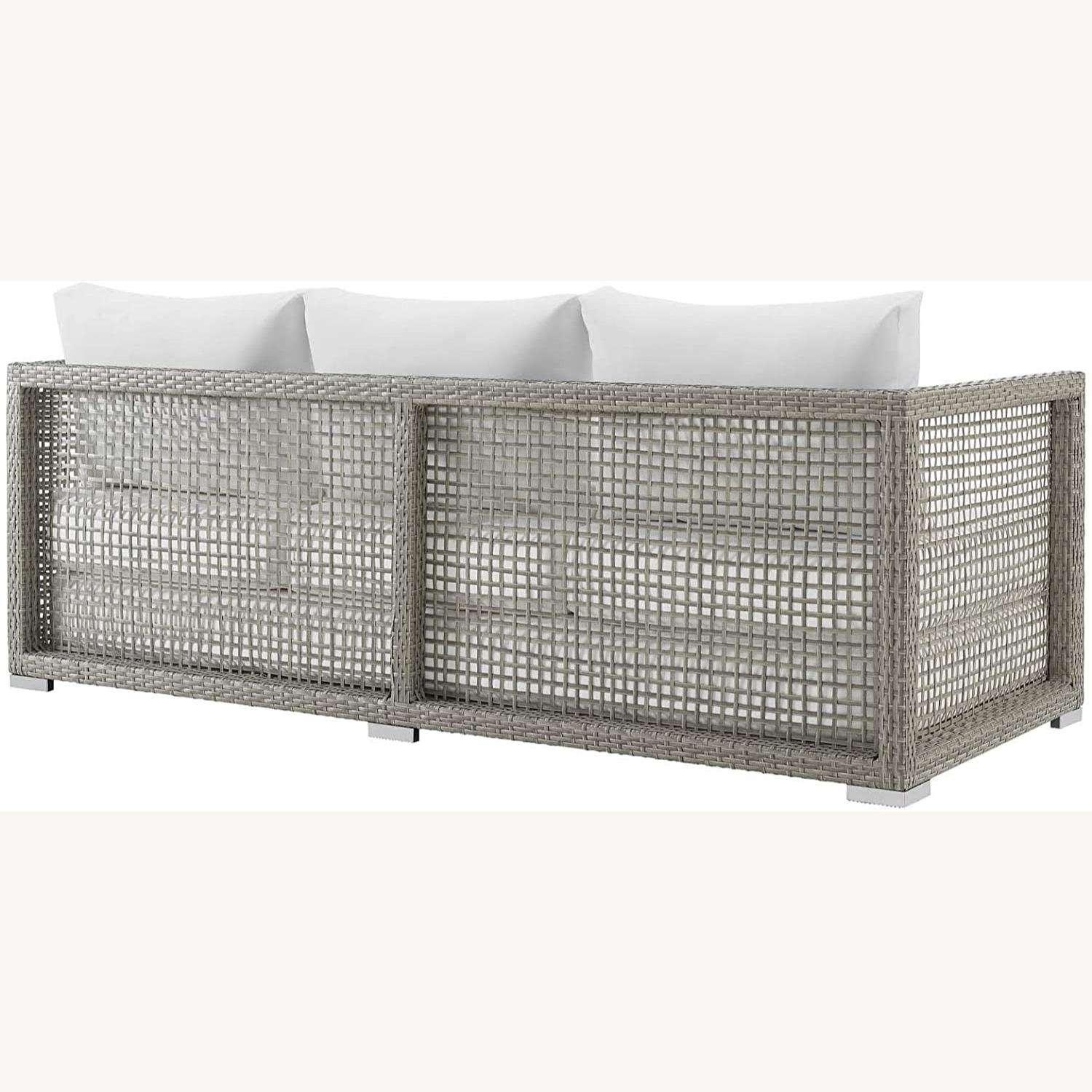 Outdoor Sofa In Gray Rattan Weave Finish - image-2