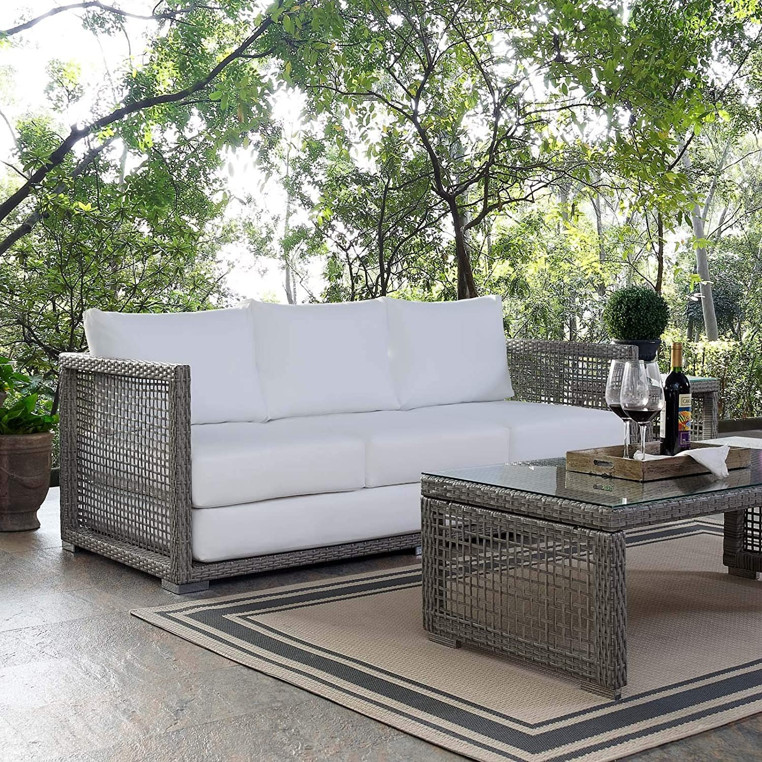 Outdoor Sofa In Gray Rattan Weave Finish - image-6