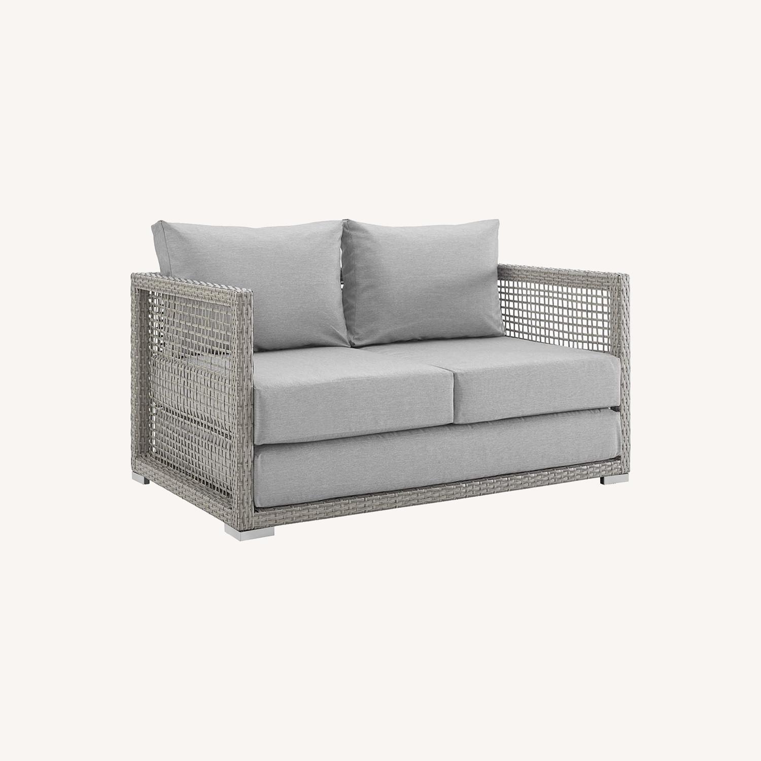 Outdoor Loveseat In Gray Rattan Weave Frame - image-10